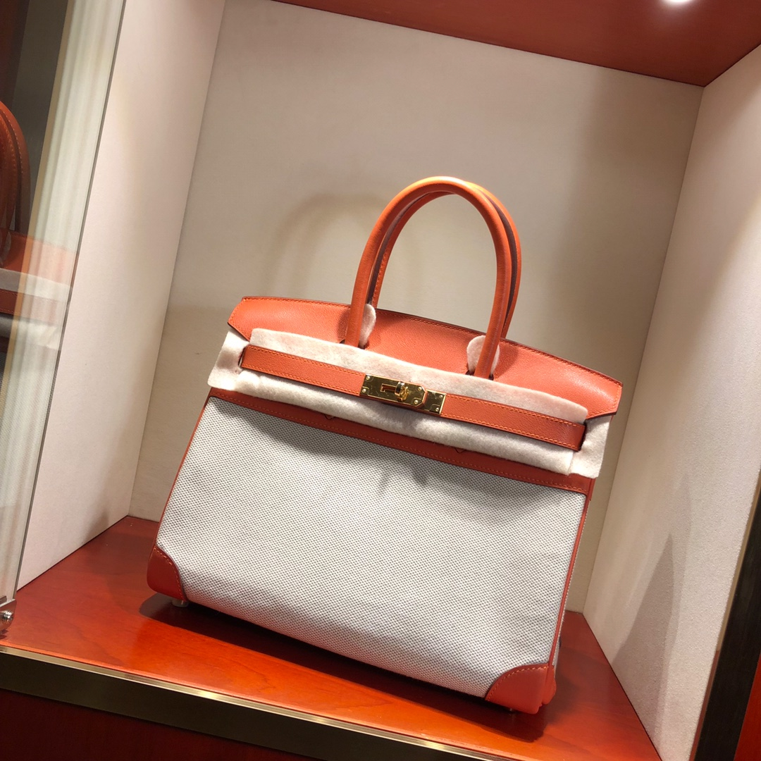 Birkin 30Cm Swift拼帆布 93 Orange 橙色 银扣 顶级工艺 手缝蜡线无敌限量版古董包