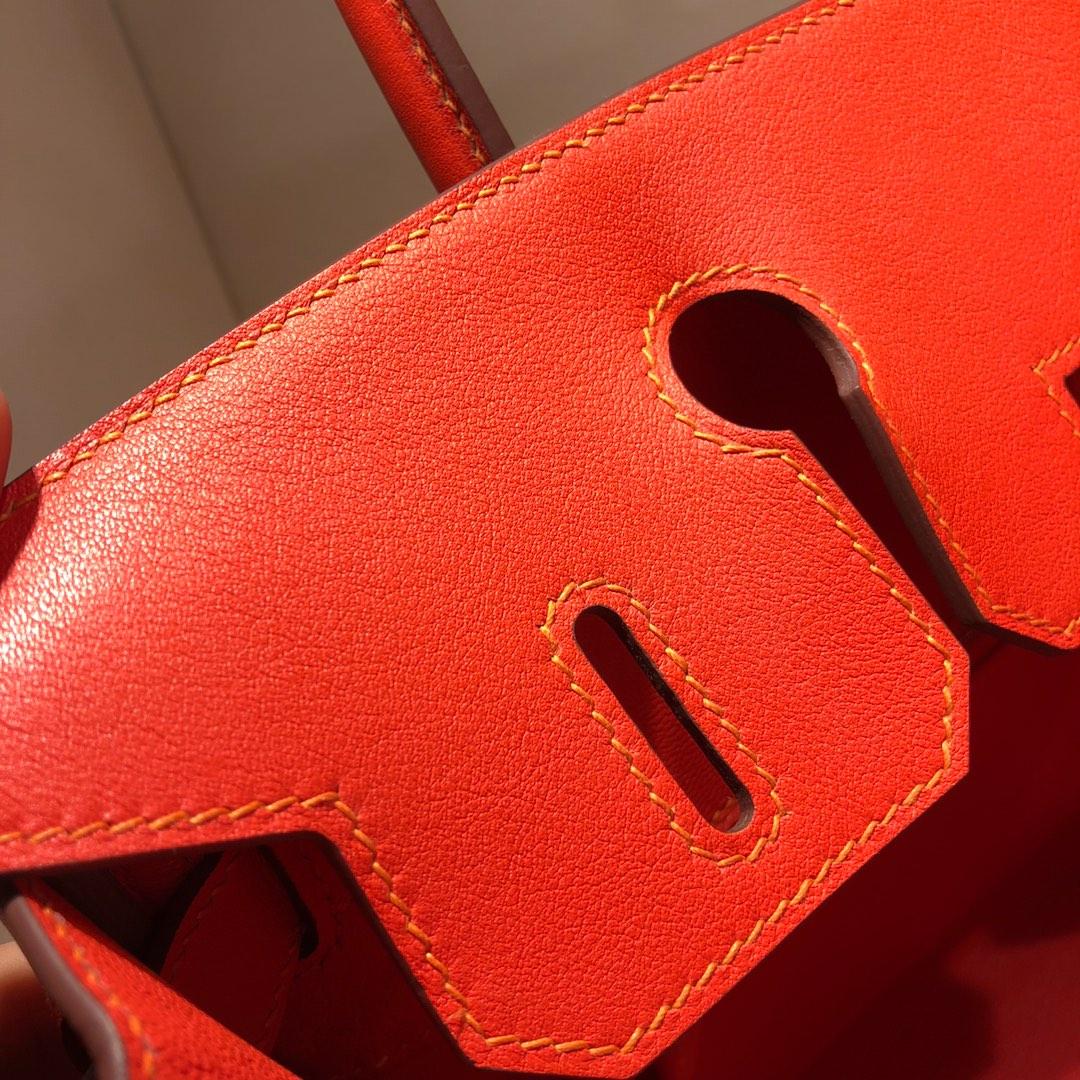 Birkin 30Cm Swift拼帆布 9J Feu 火焰橙 银扣 顶级工艺 手缝蜡线无敌限量版古董包