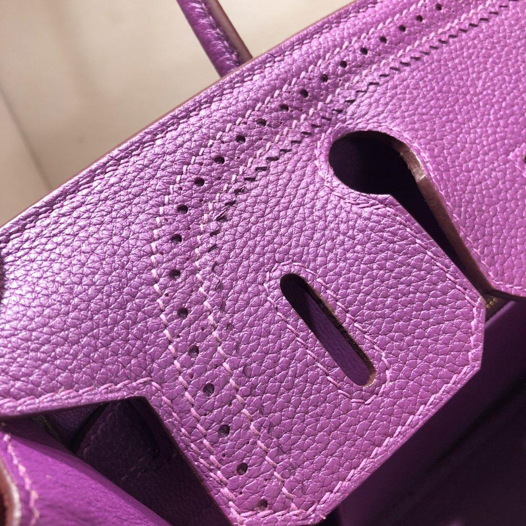 Birkin Ghillies 30Cm Swif拼Tc P9 Anemonb 海葵紫 金扣 顶级工艺 手缝蜡线在基础得铂金上加上蕾丝的点缀 简直美炸