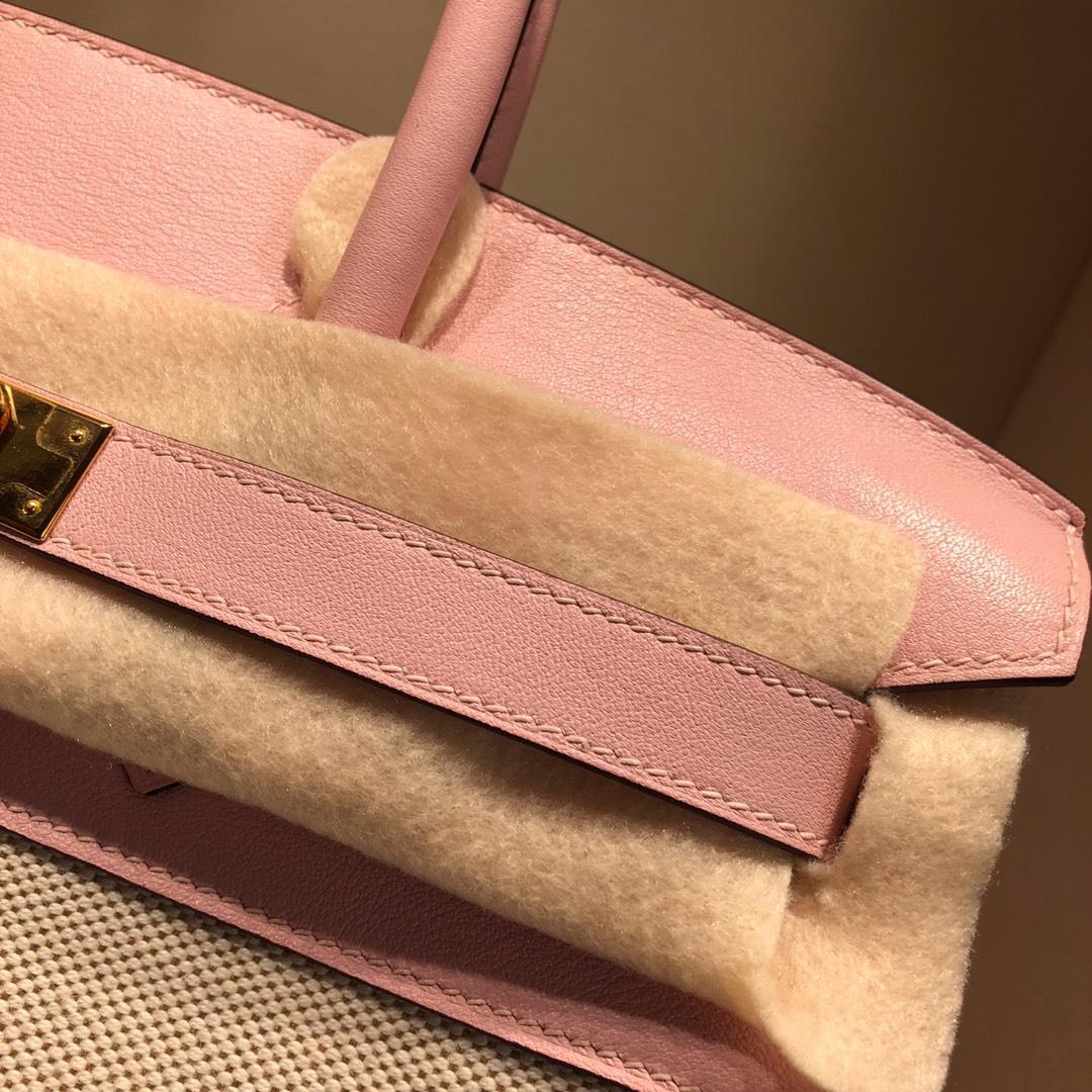 Birkin 30Cm Swift拼帆布 3Q Rose Sakura 芭比粉 银扣 顶级工艺 手缝蜡线无敌限量版古董包