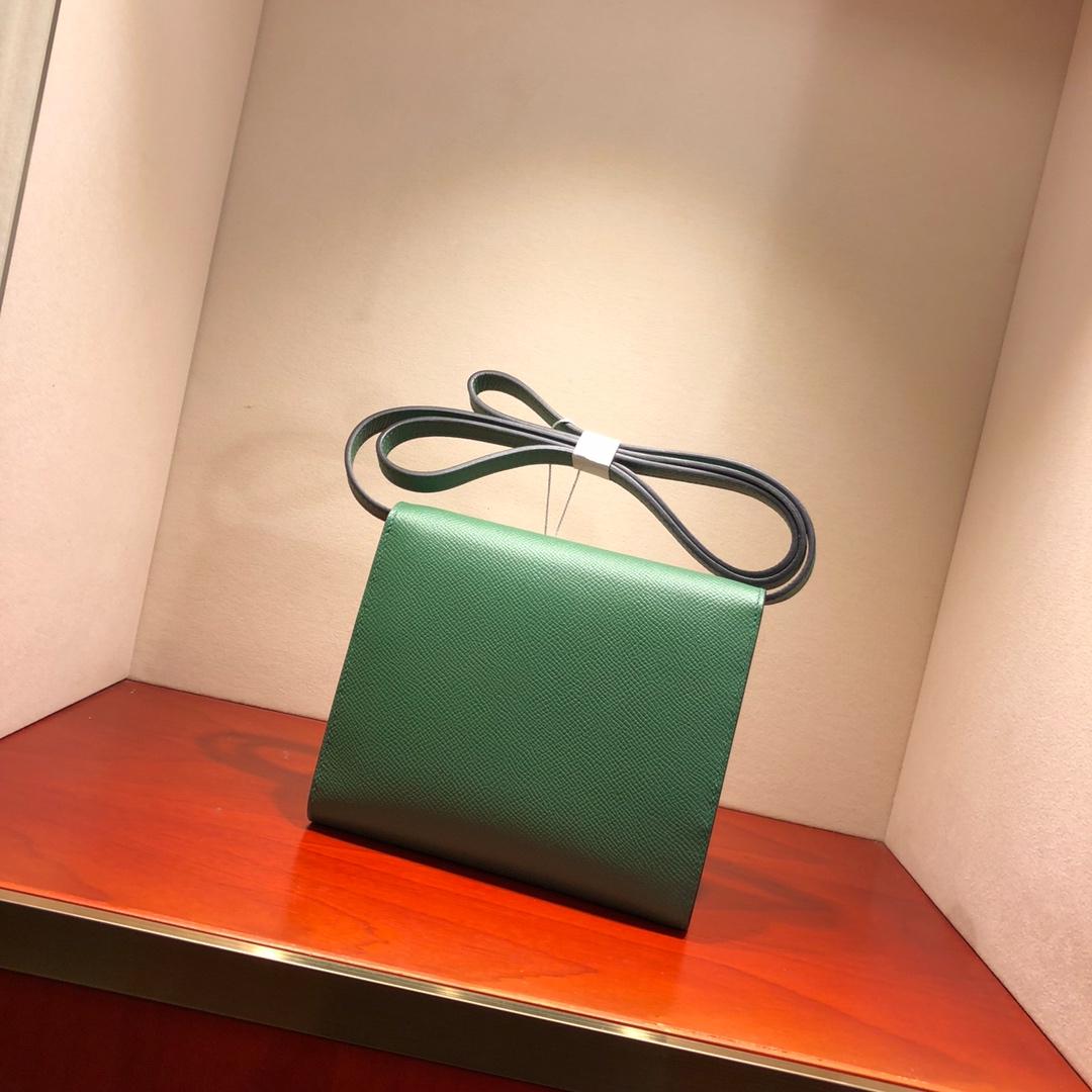 爱马仕包包 illicon 16Cm Epsom 6V Laurier 月桂叶绿 银扣 顶级工艺 手缝蜡线