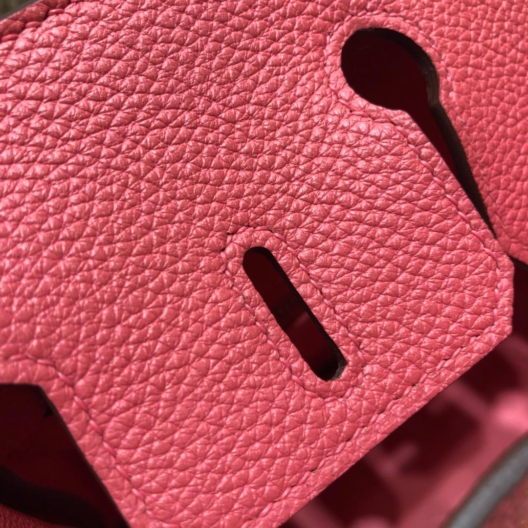 爱马仕包包 Birkin 25Cm Togo 8W Rose Azalee 唇膏粉 金扣 顶级工艺 全手缝蜡线