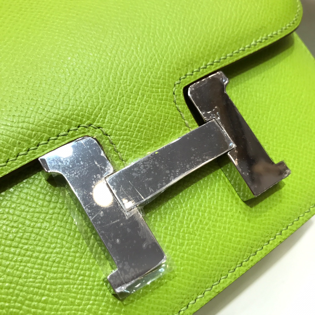 Hermes空姐包 Constance 19cm Epsom 6R Kiwi 奇异果绿 糖果绿 银扣 顶级工艺