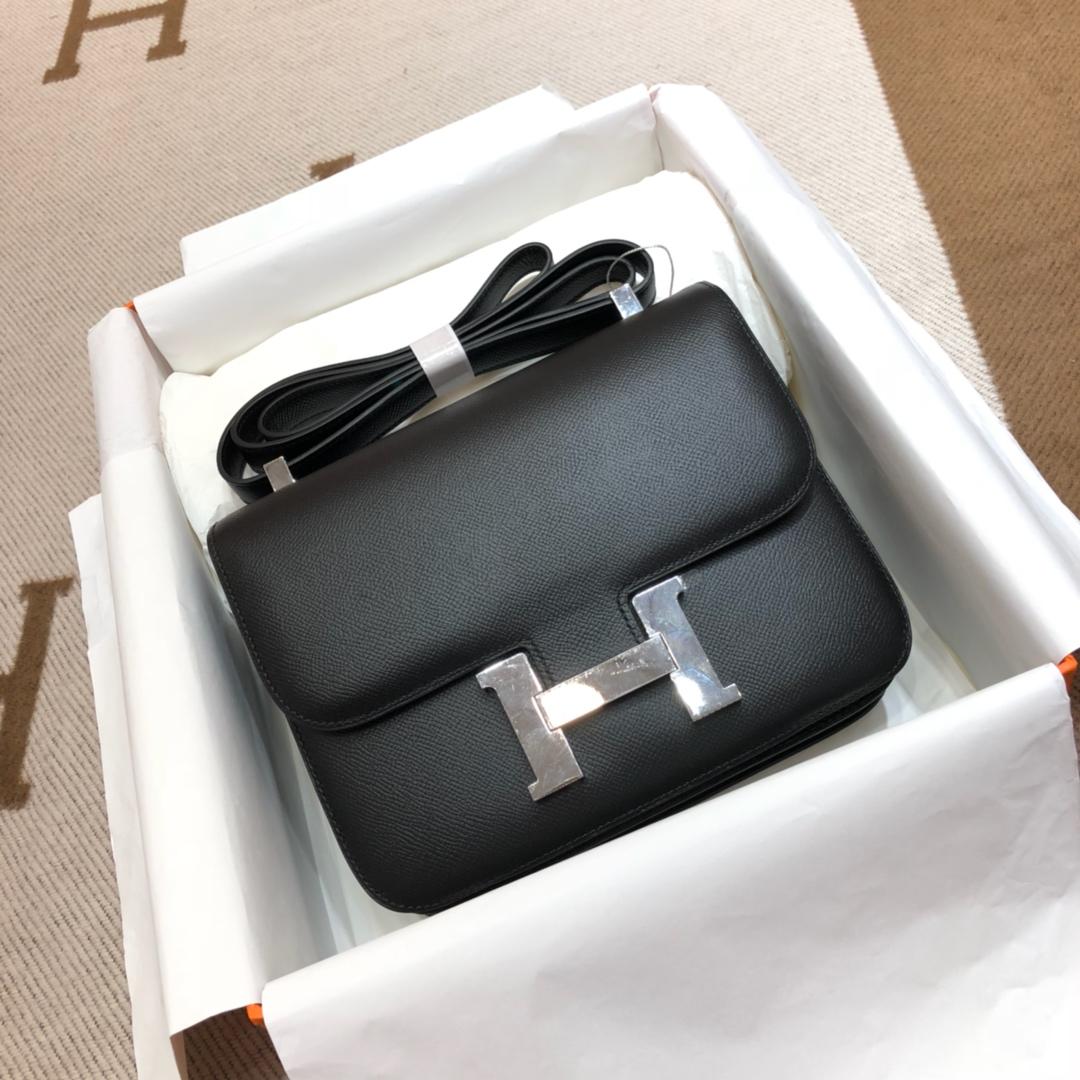 Hermes空姐包 Constance 24cm Epsom 89 Noir 黑色 银扣 顶级工艺