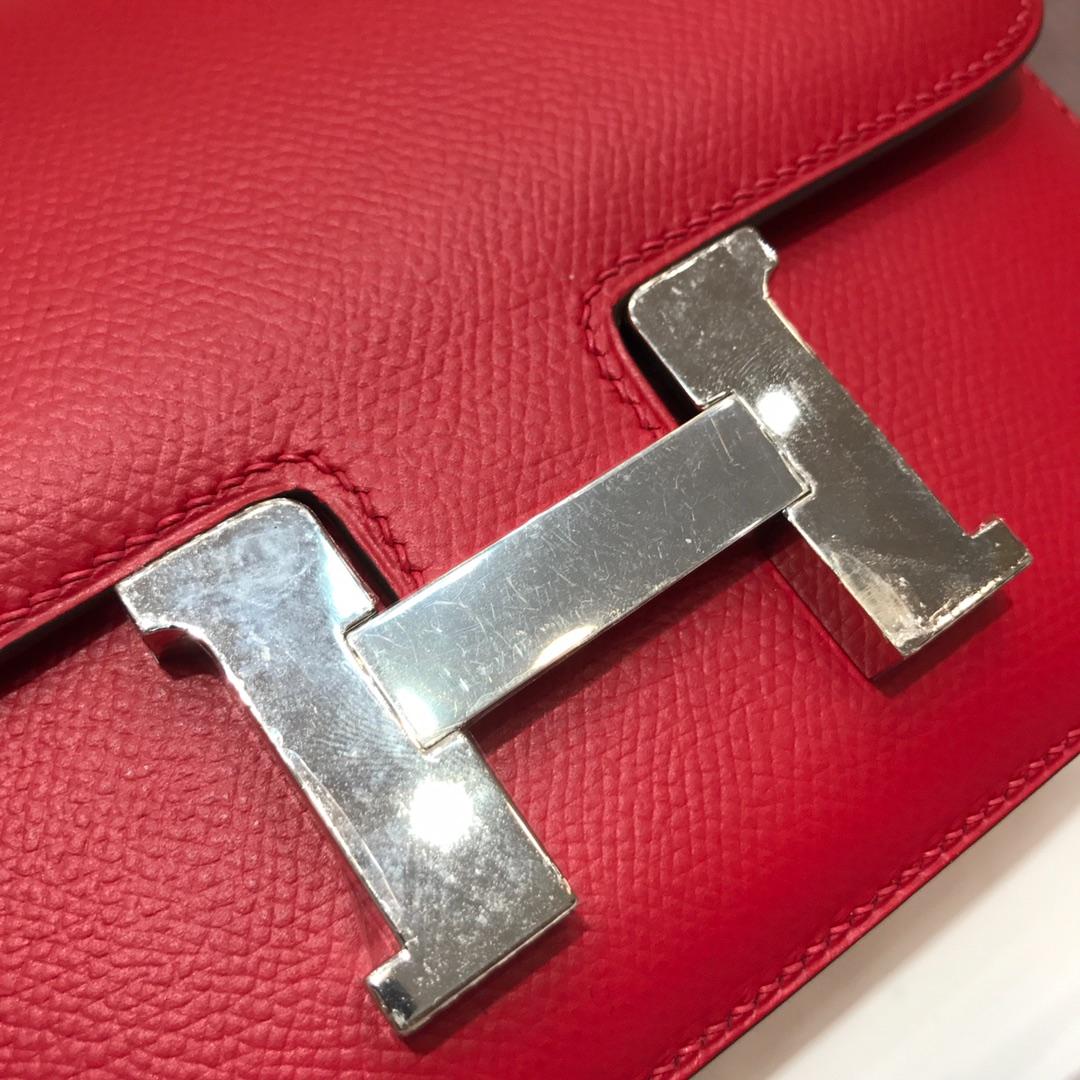 Hermes空姐包 Constance 19cm Epsom Q5 Rouge Casaqbe 中国红 银扣 顶级工艺