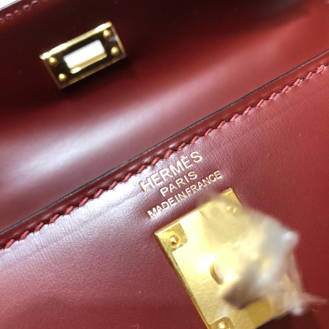 爱马仕包包 Kelly 25cm Box 55 Rouge H 爱马仕红 金扣 顶级工艺 手缝蜡线