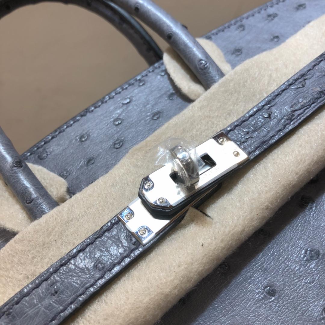 爱马仕包包 Birkin 25Cm 南非鸵鸟皮 慕斯灰 银扣 全手缝蜡线