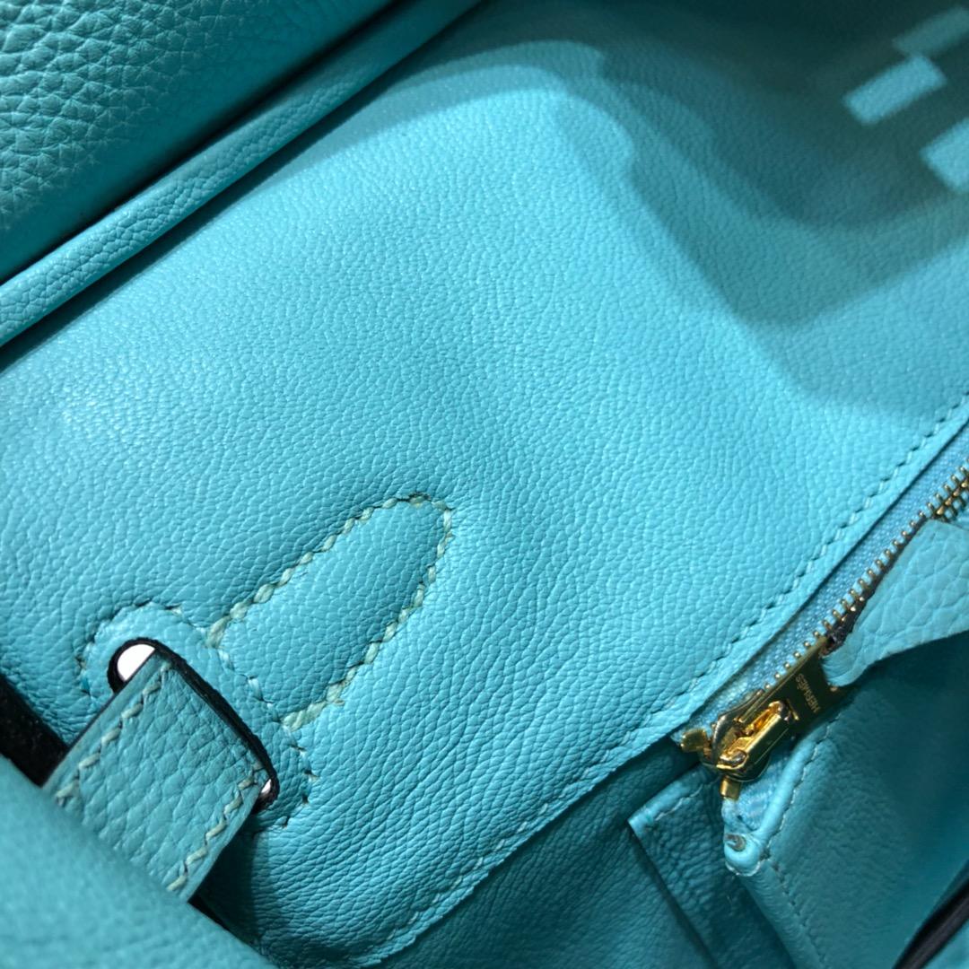 爱马仕经典 Birkin 30Cm Togo 3P Blue Atoll 马卡龙蓝 金扣 顶级工艺 手缝蜡线