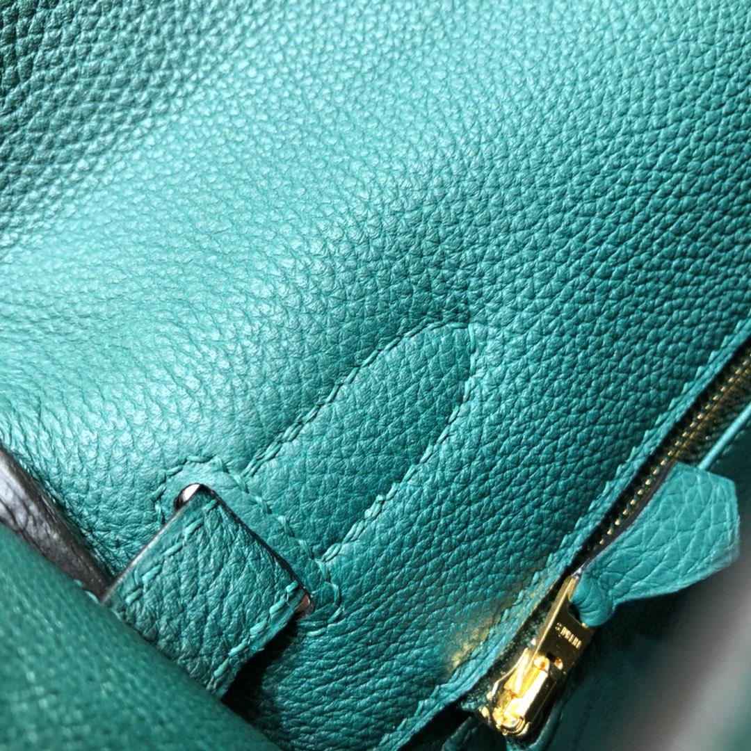 爱马仕包包 Kelly 28cm Togo Z6 Malachite 孔雀绿 金扣 顶级工艺 手缝蜡线