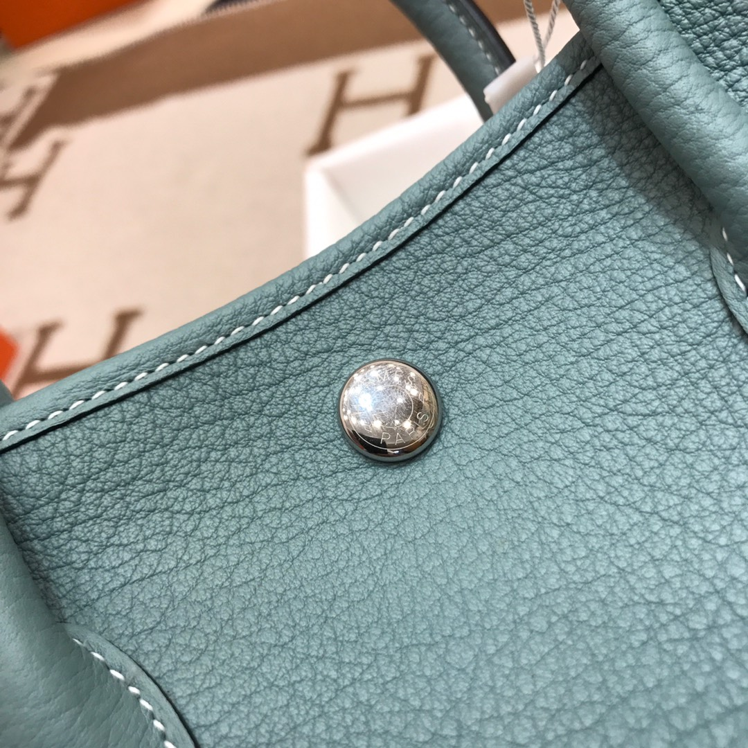 Hermes包包 Garden Party 31Cm Negonda J7 Blue Lin 亚麻蓝 银扣 顶级工艺 手缝蜡线