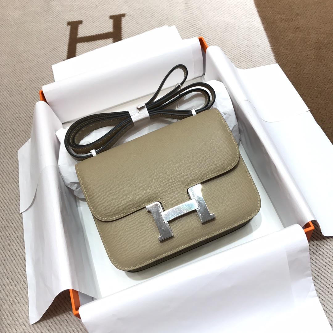 Hermes空姐包 Constance 19cm Epsom S2 Trench 风衣灰 银扣 顶级工艺