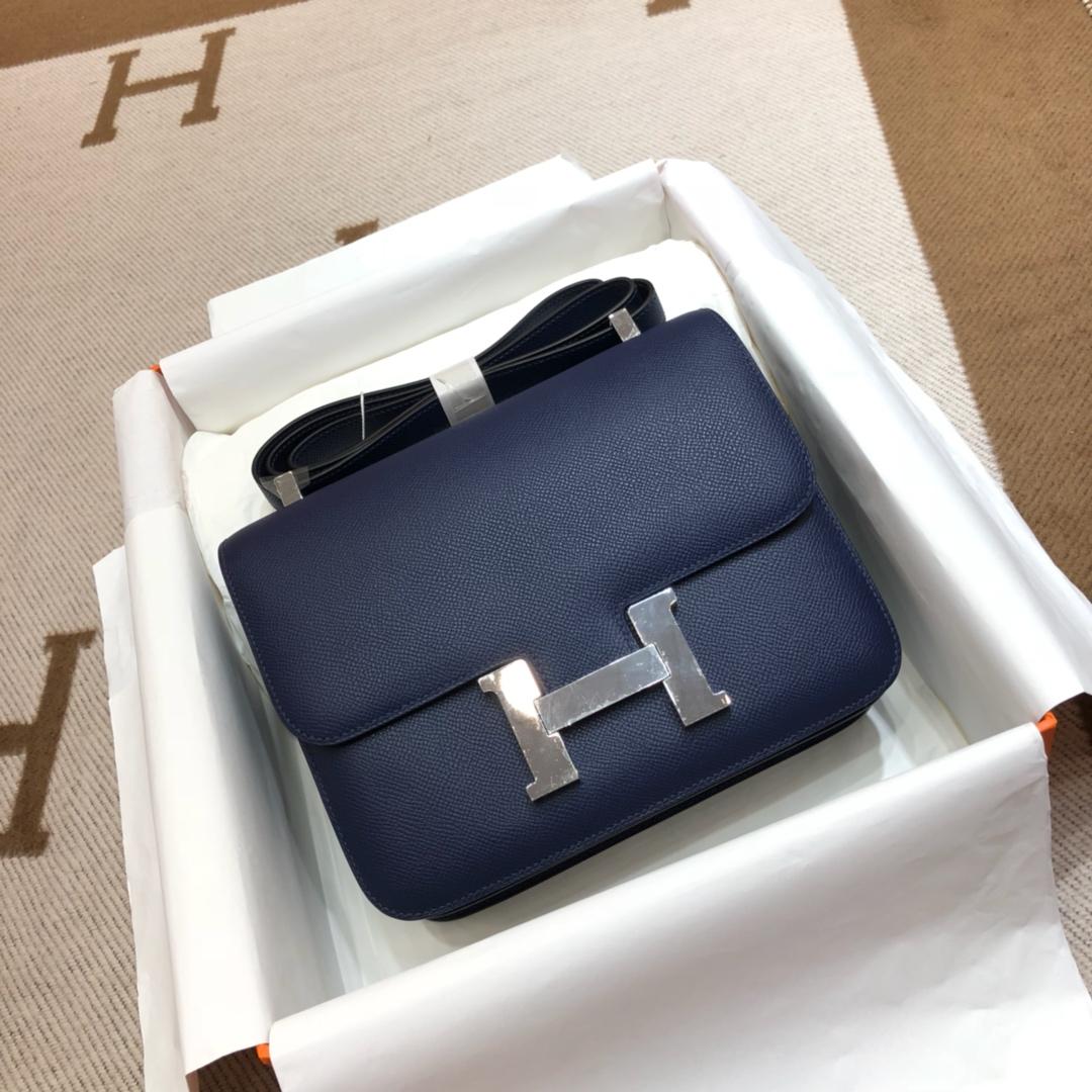 Hermes空姐包 Constance 24cm Epsom 73 Blue Saphir 宝石蓝 银扣 顶级工艺
