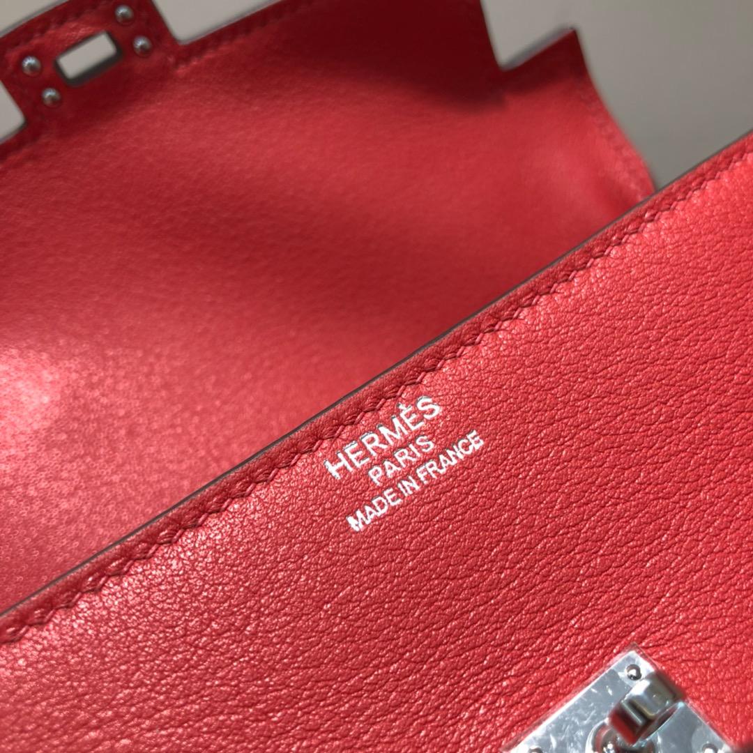 爱马仕包包 Kelly Doll 17cm 法国swift 大红拼黑色 银扣 顶级工艺 手缝蜡线 超级可耐