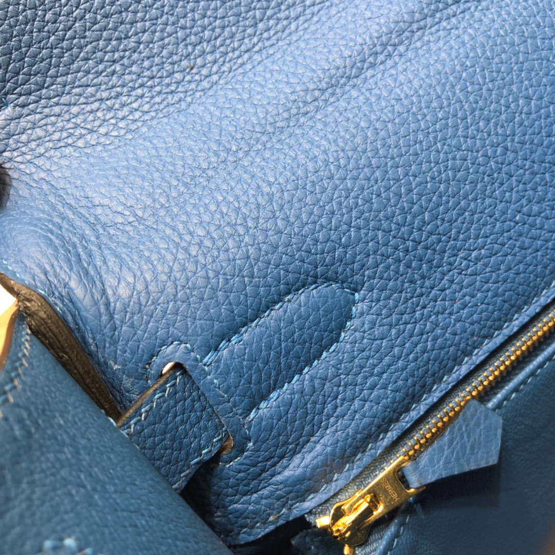 Hermes爱马仕 Kelly 32cm Togo T7 Blue Hydra 水妖蓝 金扣 顶级工艺手缝蜡线