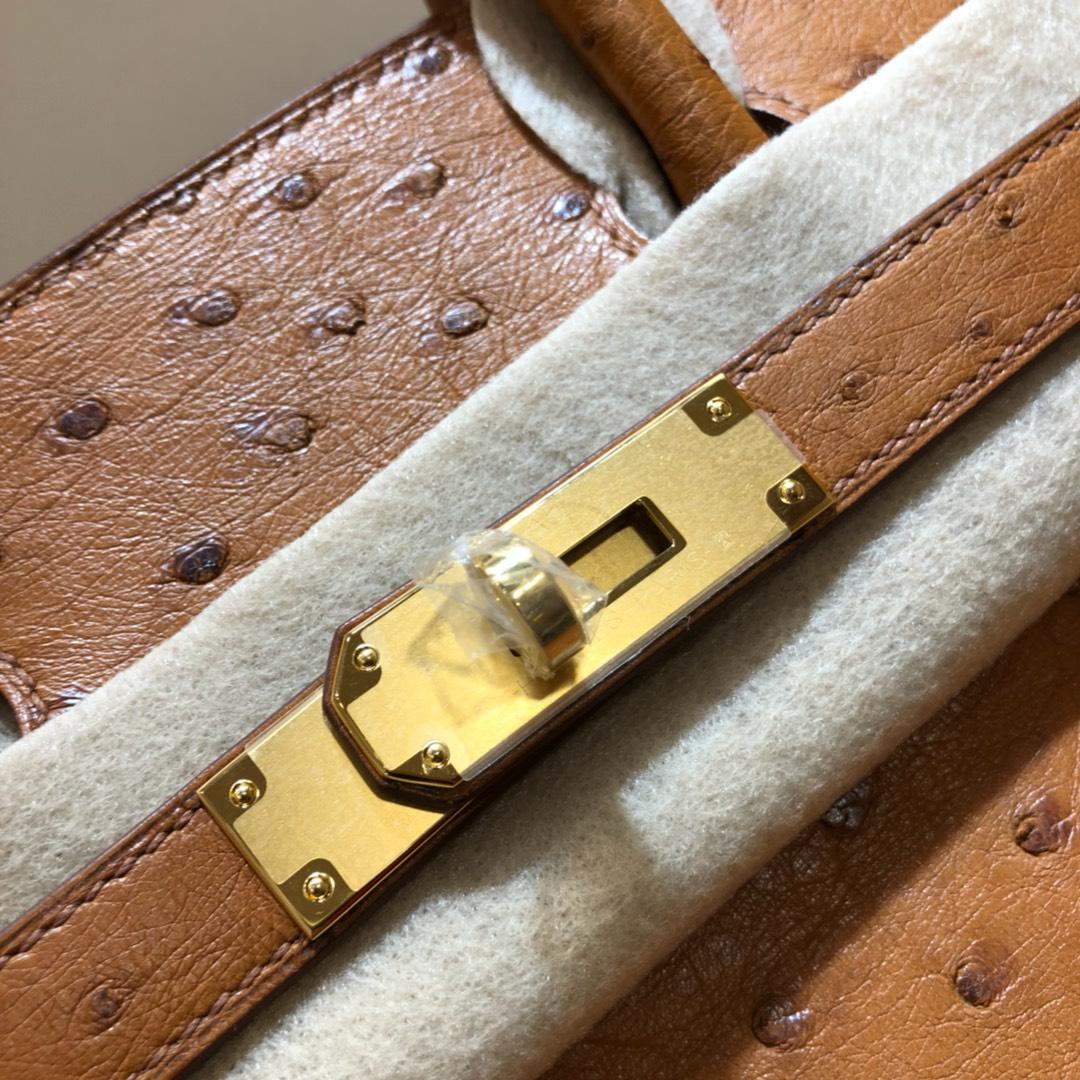 爱马仕包包 Birkin 30Cm 南非鸵鸟皮 金棕 金扣 全手缝蜡线