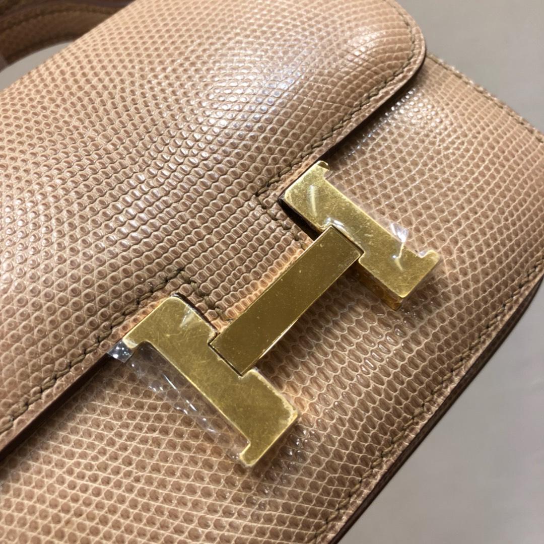 爱马仕空姐包 Constance 24Cm Lizard 西班牙原产蜥蜴皮 S2 Trench 风衣灰 金扣 顶级工艺 全手缝蜡线
