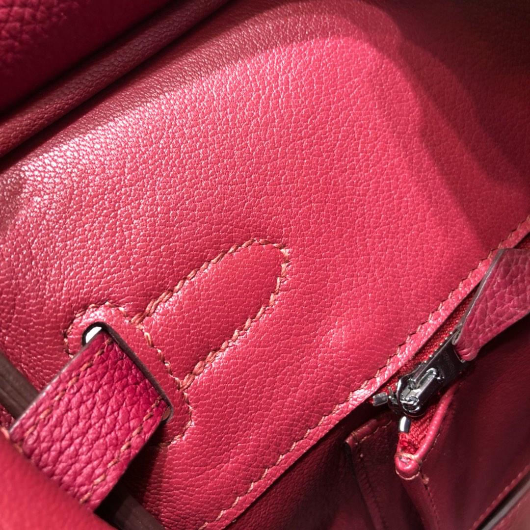 爱马仕经典 Birkin 30Cm Togo K1 Rouge Grenat 石榴红 银扣 顶级工艺 手缝蜡线