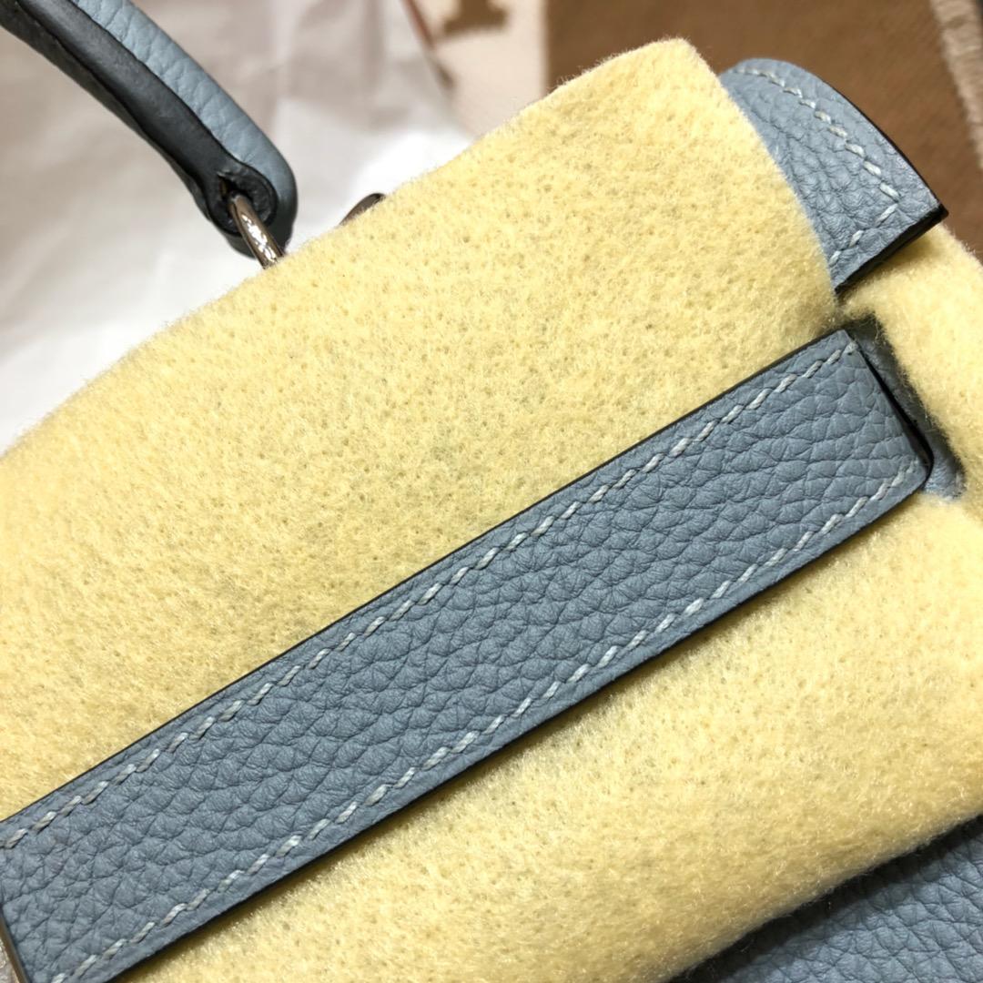 Hermes爱马仕 Kelly 32cm Togo J7 Blue Lin 亚麻蓝 银扣 顶级工艺手缝蜡线