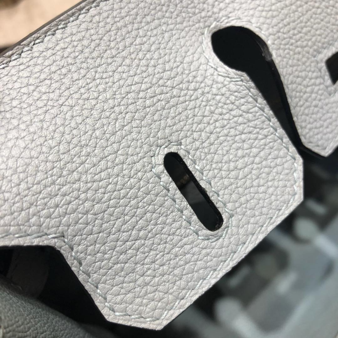 爱马仕包包 Birkin 25Cm Togo 8U Glacierw 冰川灰 金扣 顶级工艺 全手缝蜡线