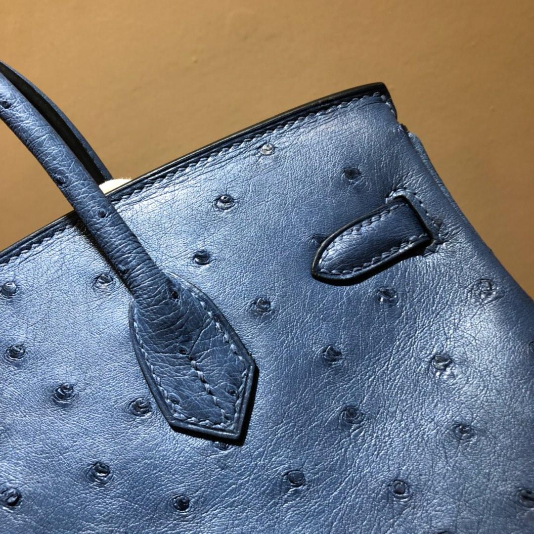 爱马仕包包 Birkin 30Cm 南非鸵鸟皮 玛瑙蓝 金扣 顶级工艺 全手缝蜡线
