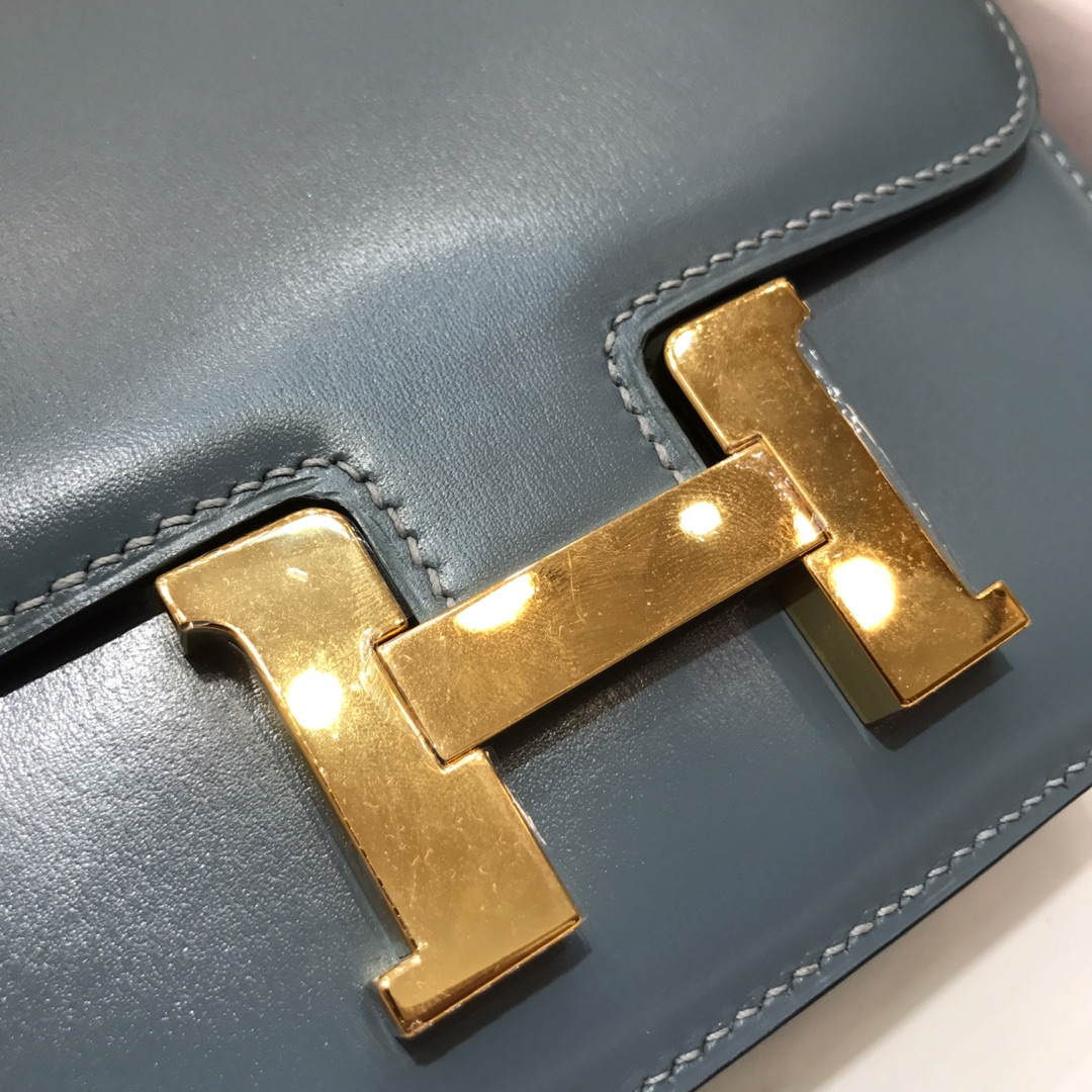 Hermes空姐包 Constance 19cm Box 75 Blue Jean 牛仔蓝 金扣 顶级工艺