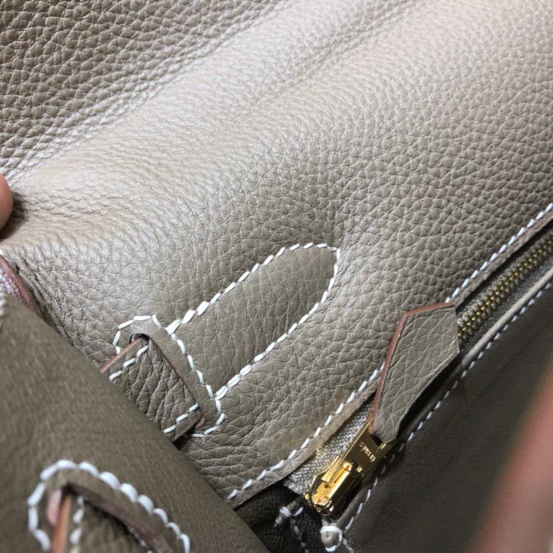Hermes爱马仕 Kelly 32cm Togo 18 Etoupe 大象灰 金扣 顶级工艺手缝蜡线