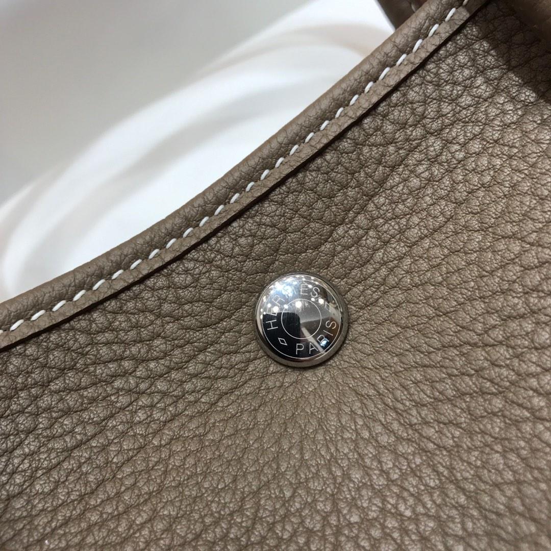 Hermes包包 Garden Party 31Cm Negonda 18 Etoupe 大象灰 银扣 顶级工艺 手缝蜡线