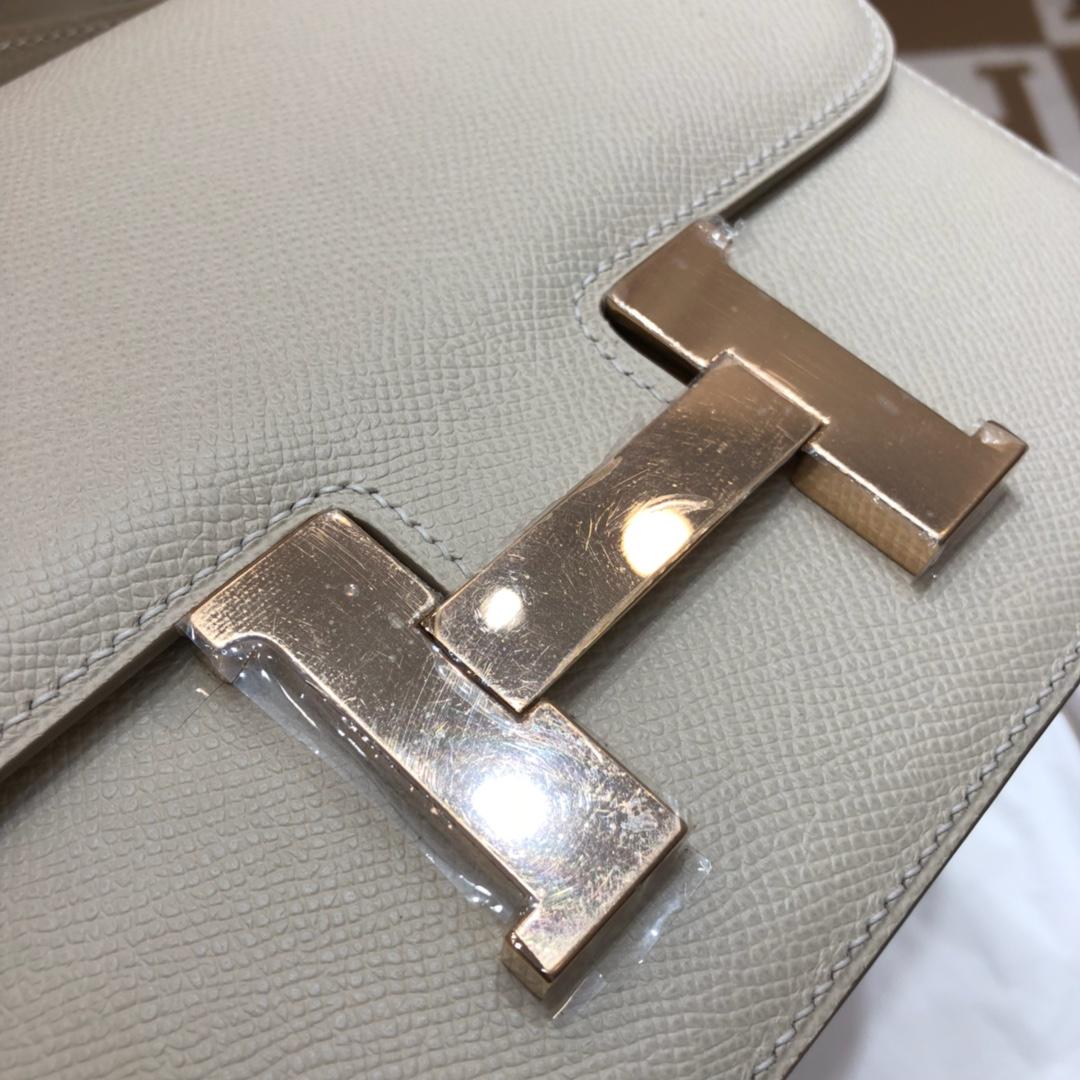 Hermes空姐包 Constance 24cm Epsom 10 Craie 奶昔白 玫瑰金扣 顶级工艺