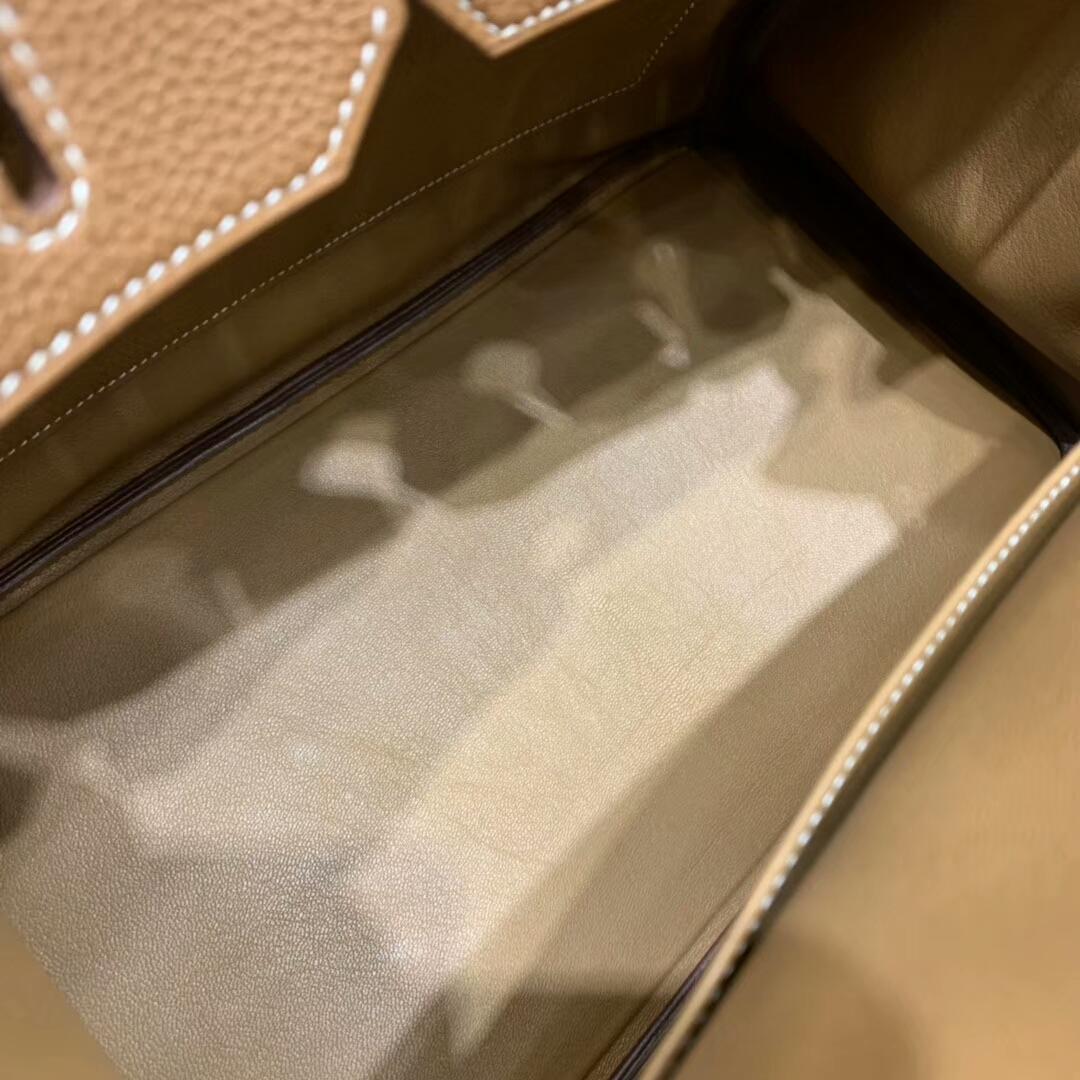 爱马仕铂金包 Birkin 35cm Togo小牛 37 Gold 金棕 银扣 顶级工艺 手缝蜡线