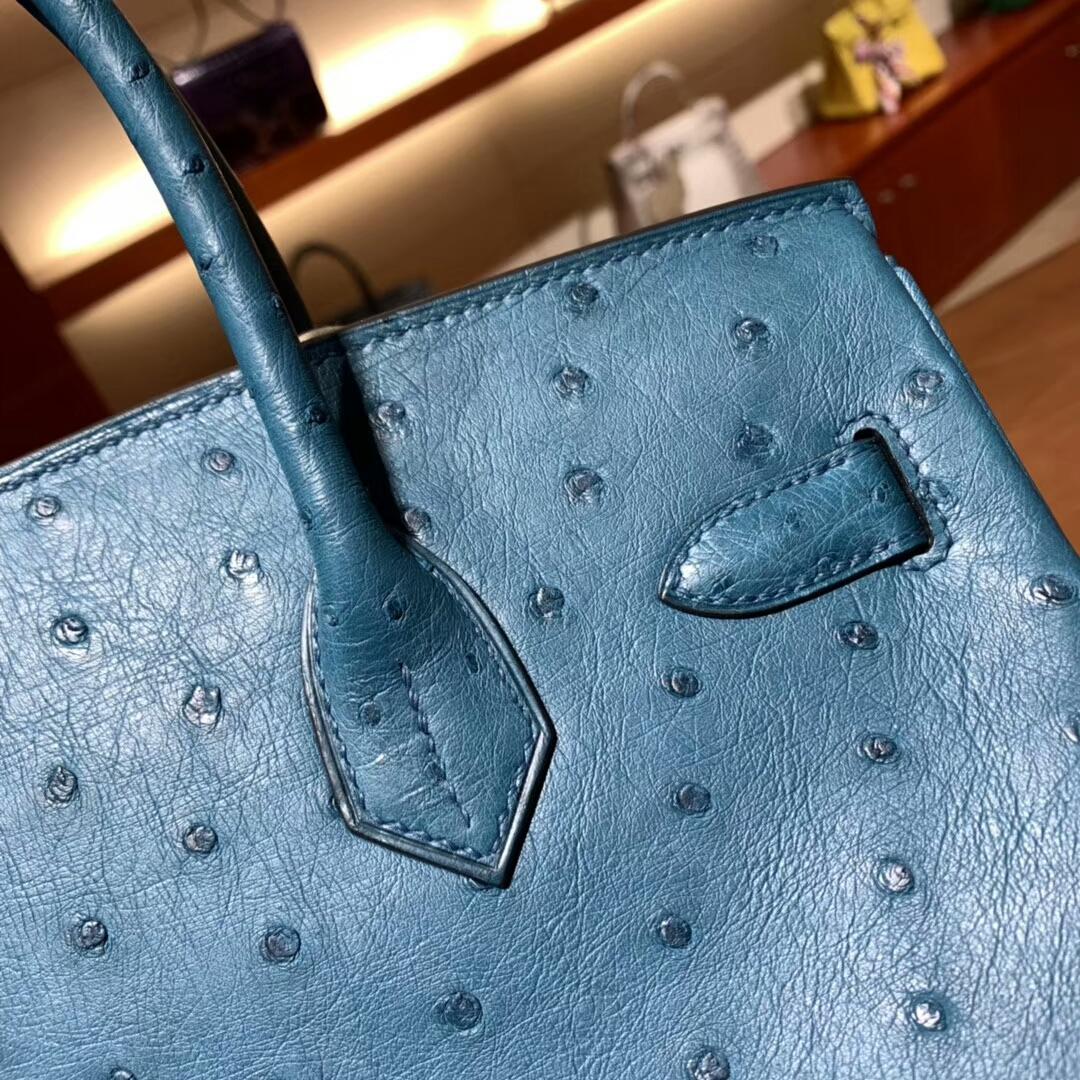 爱马仕铂金包 Birkin 30cm Ostrich S7 Blue Galice 加利西亚蓝 金扣 蜜蜡线纯手缝