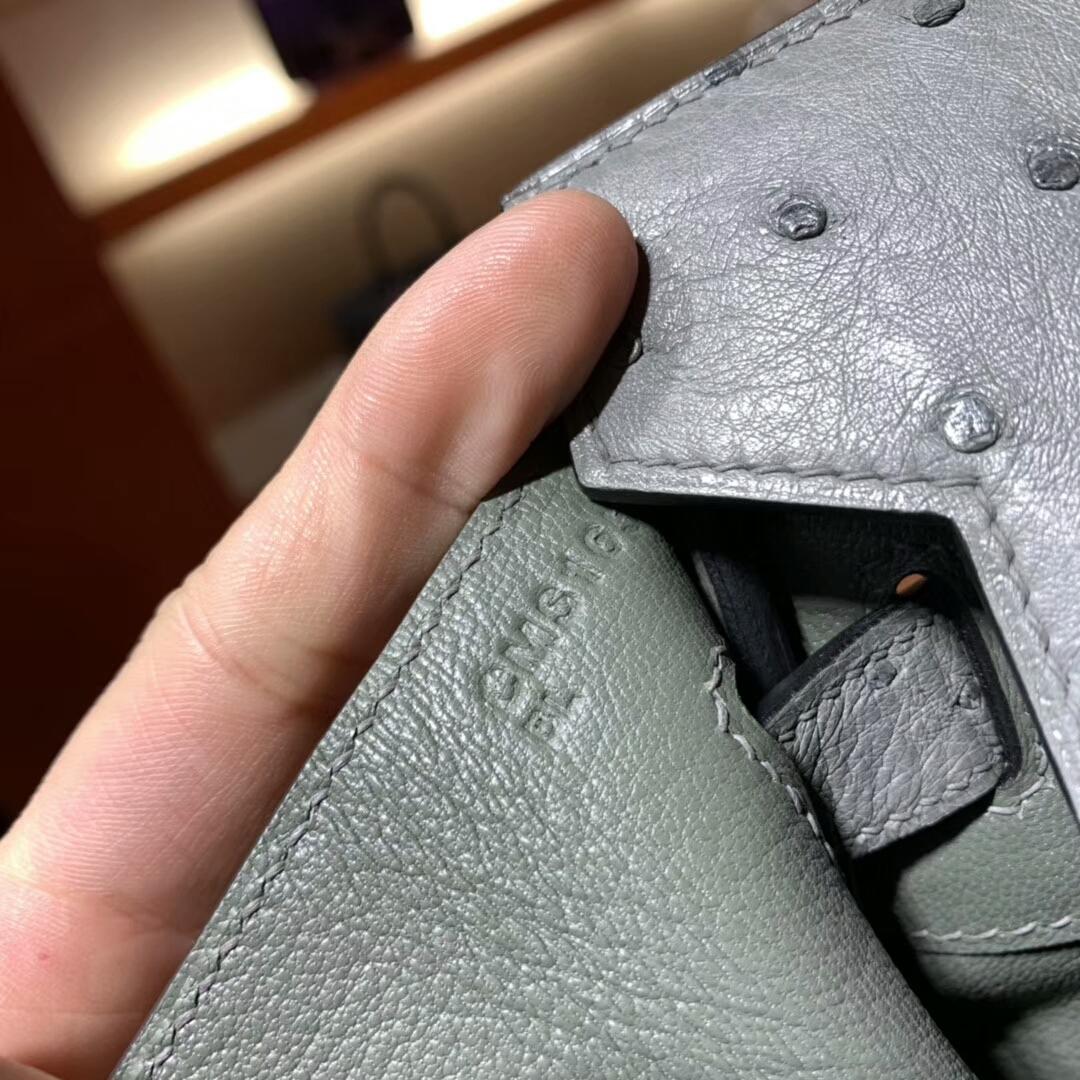 爱马仕铂金包 Birkin 30cm Ostrich 19 Mousse 慕斯灰 金扣 蜜蜡线纯手缝