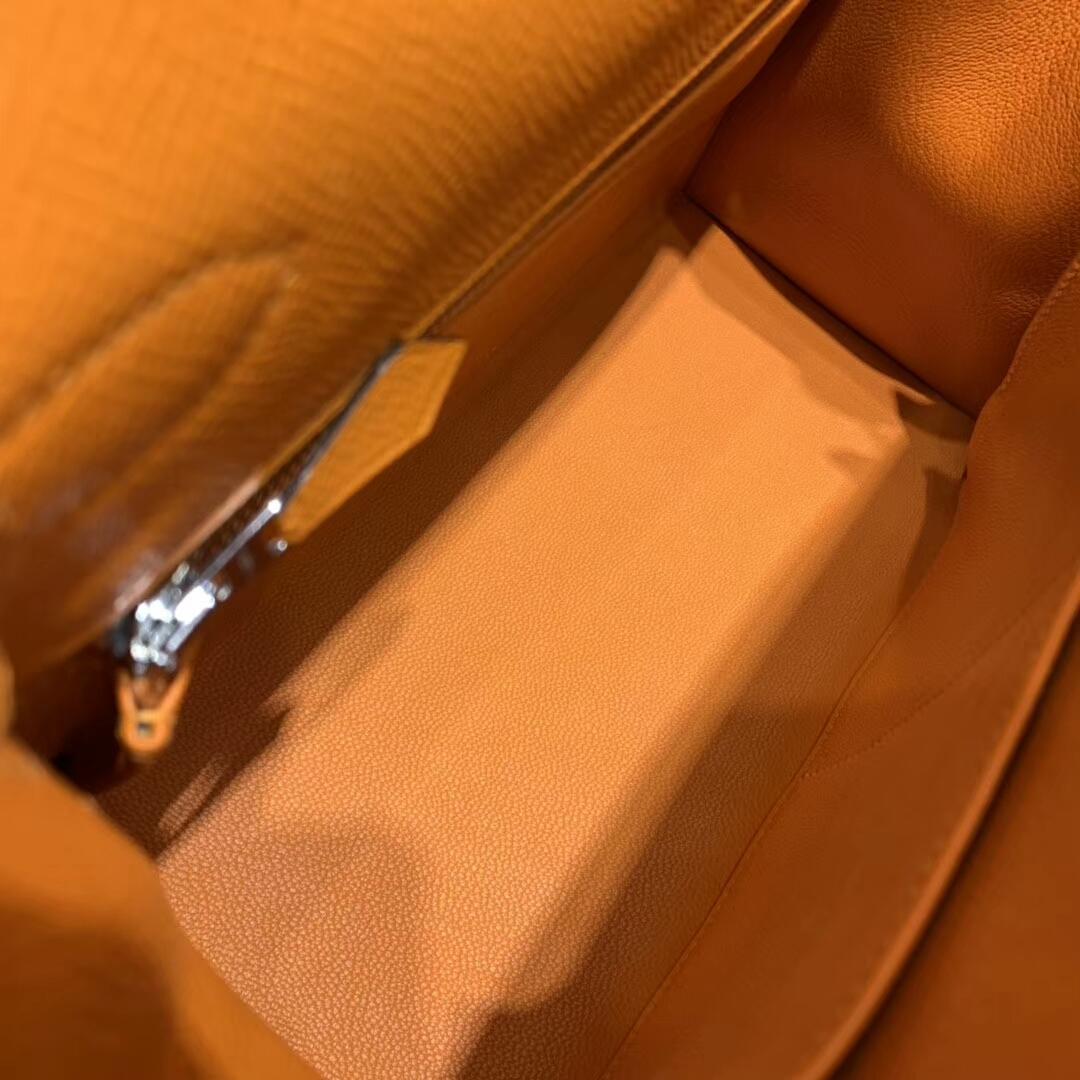 爱马仕凯莉包 Kelly 28cm 93 Orange 橙色 银扣 蜜蜡线手缝