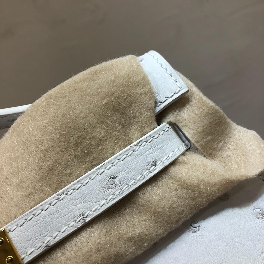 Hermes爱马仕 Kelly pochette 22cm Ostrich Leather 南非KK鸵鸟皮 01 Blanc 纯白 金扣