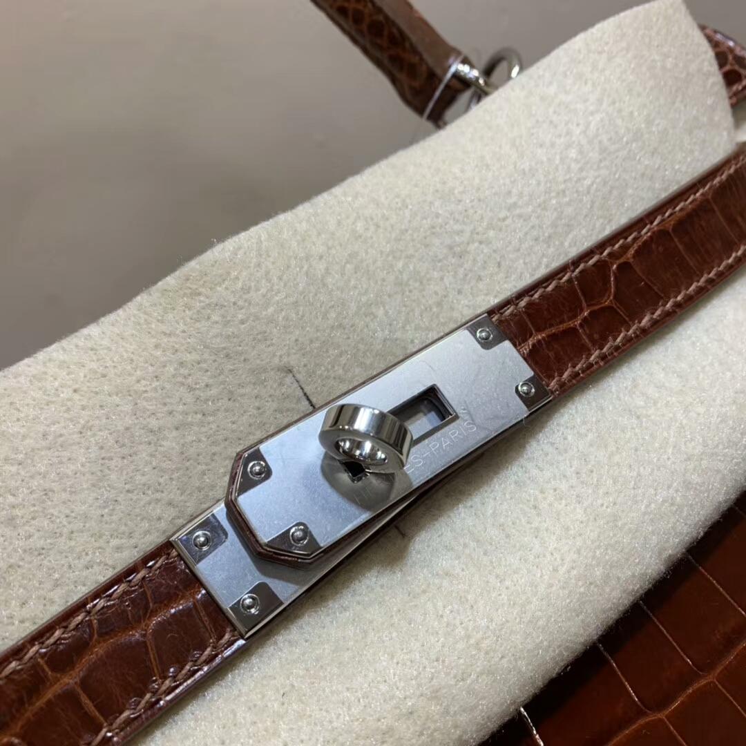 Hermes包包 Kelly 28cm Shiny Niloticus Crocodile 6C Cuiuvr 古铜色 银扣