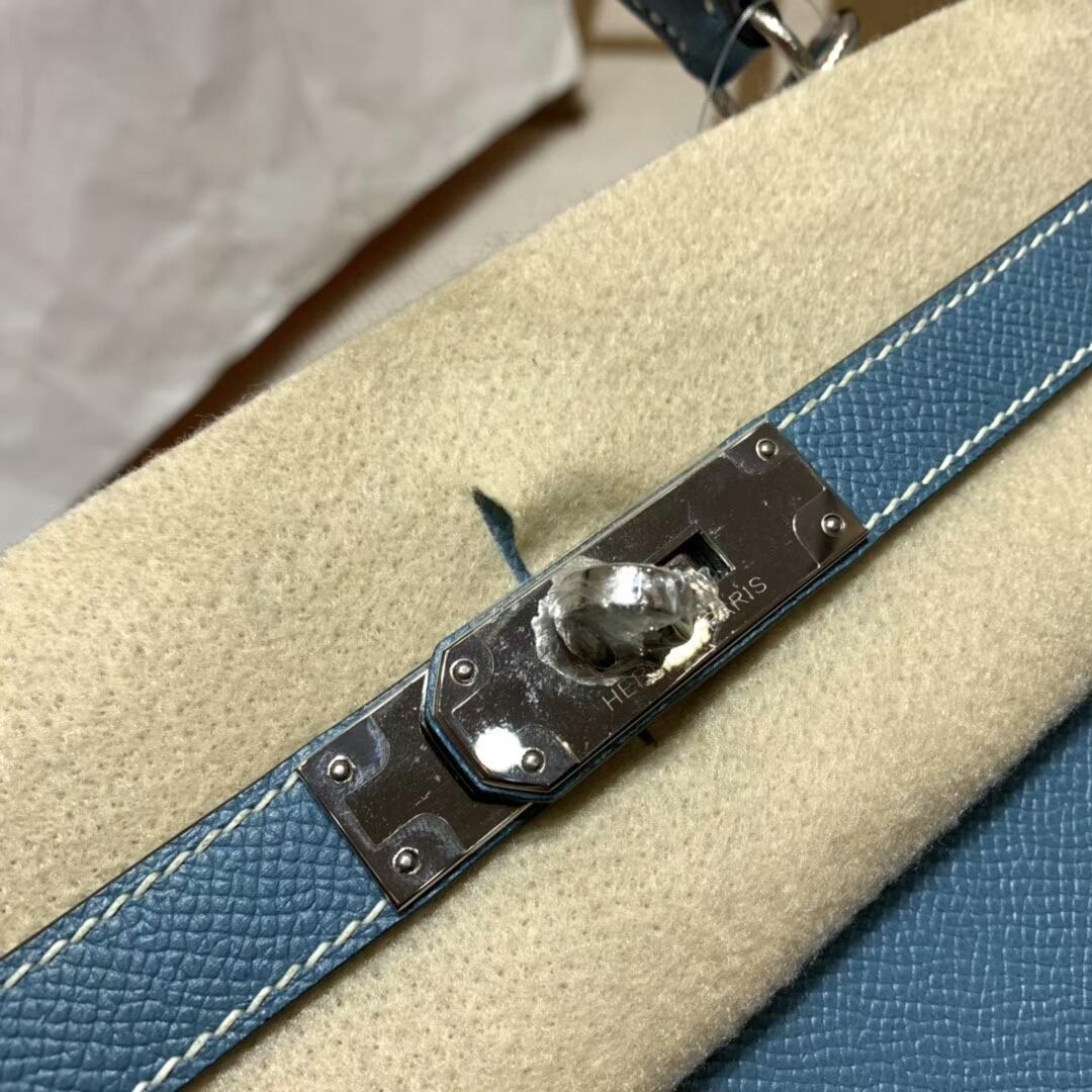 爱马仕凯莉包 Kelly 28cm 75 Blue Jean 牛仔蓝 银扣 蜜蜡线手缝