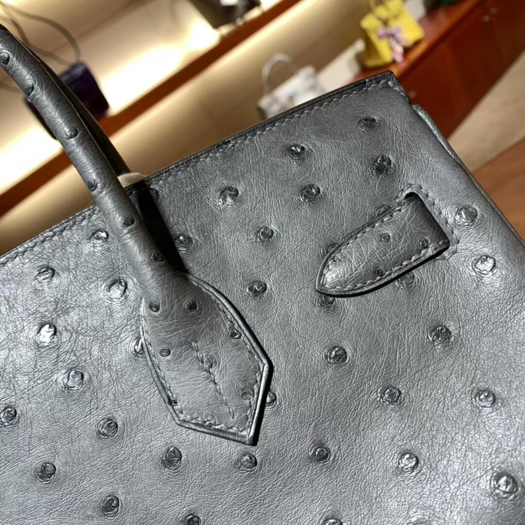 爱马仕铂金包 Birkin 30cm Ostrich 8F Etain 锡器灰 金扣 蜜蜡线纯手缝