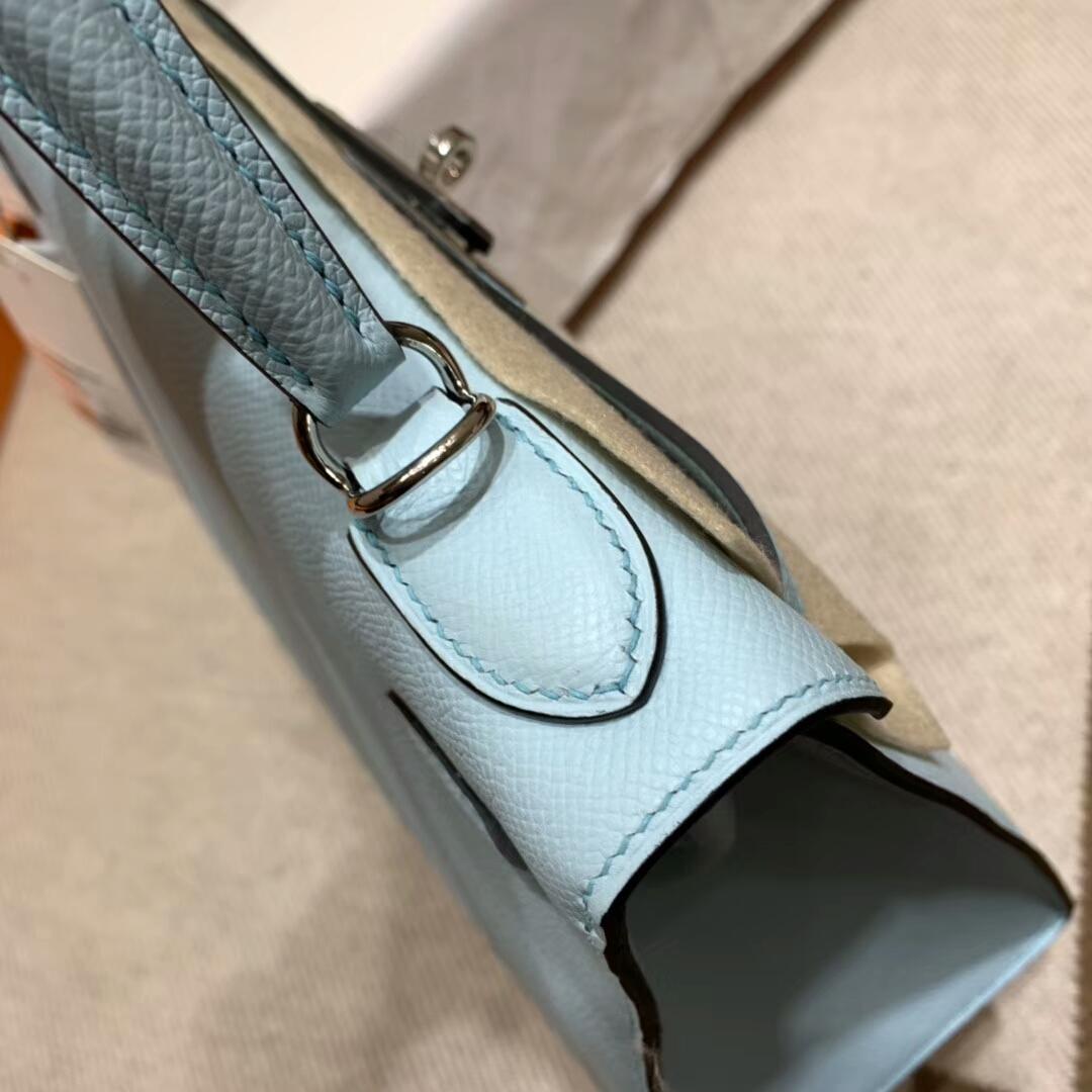 爱马仕凯莉包 Kelly 28cm U2 Blue Zephyr 微风蓝 银扣 蜜蜡线手缝