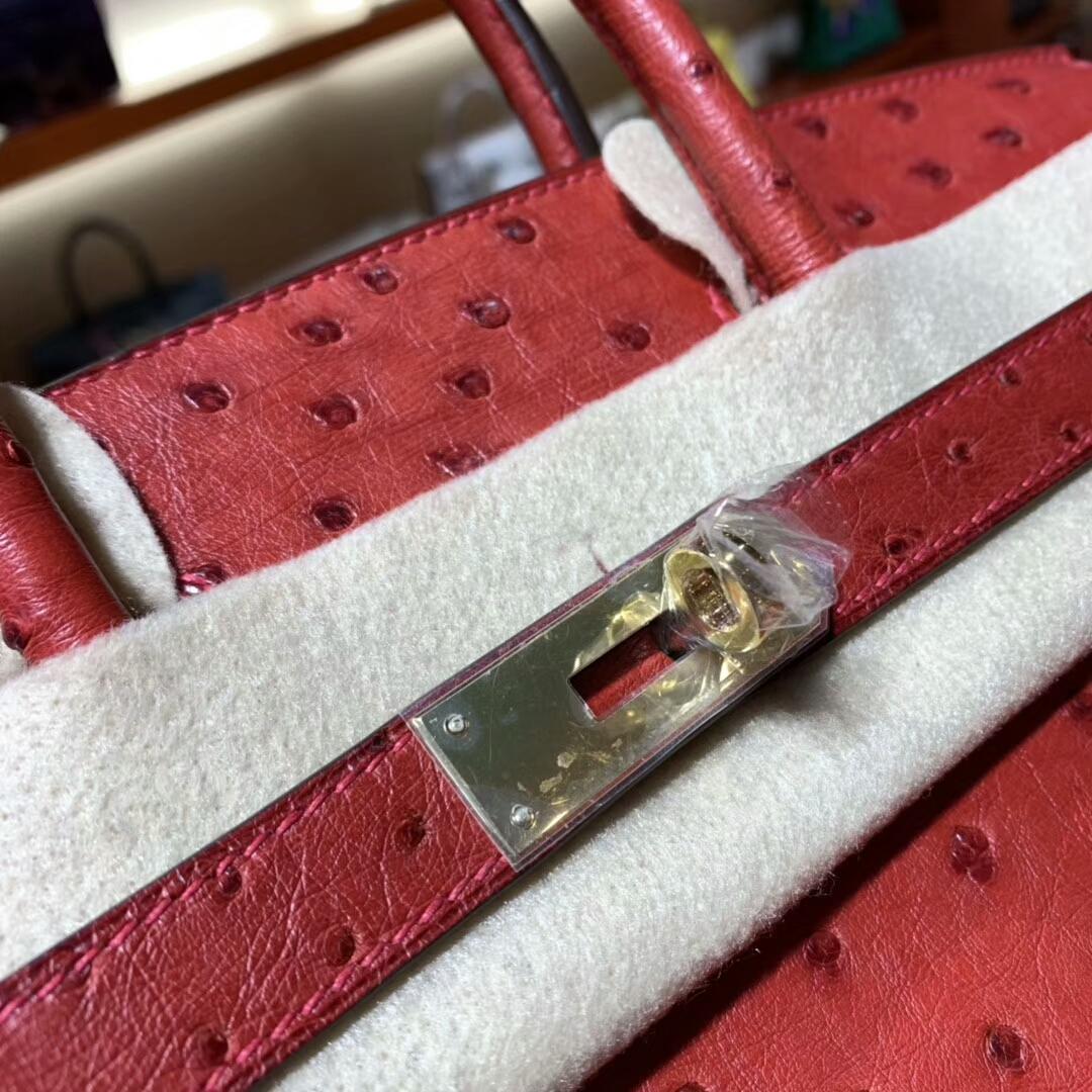 爱马仕铂金包 Birkin 30cm Q5 Rouge Casaqbe 中国红 金扣 蜜蜡线纯手缝