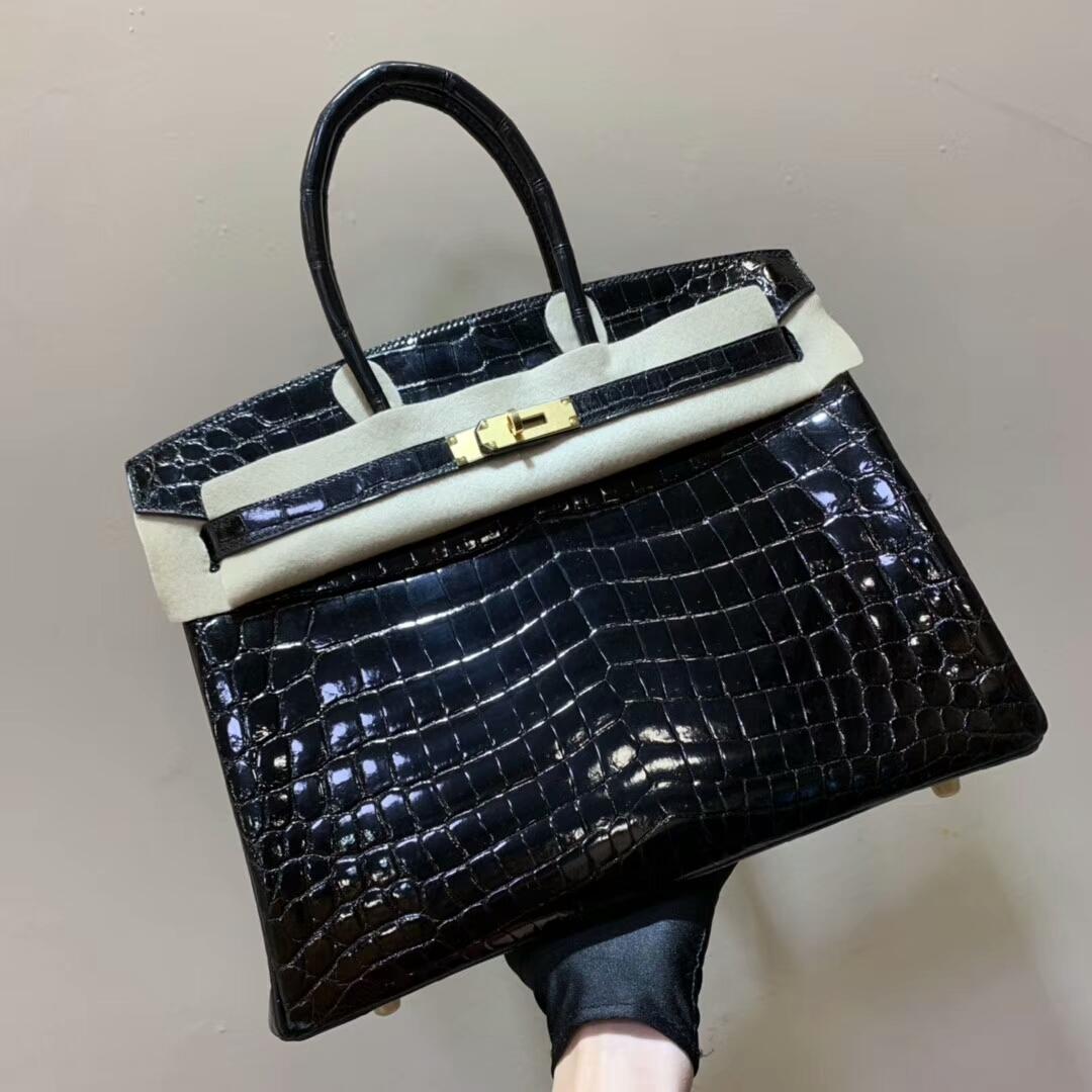爱马仕包包批发 Birkin 30cm Shiny Niloticus Crocodile 89 Noir 黑色 金扣 顶级工艺 全手缝蜡线