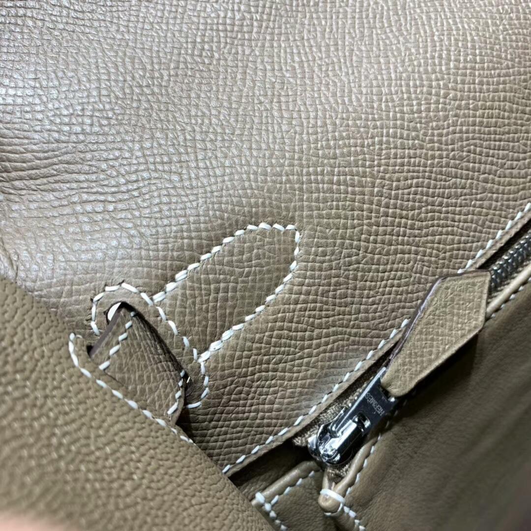爱马仕凯莉包 Kelly 28cm 18 Etoupe 大象灰 银扣 蜜蜡线手缝