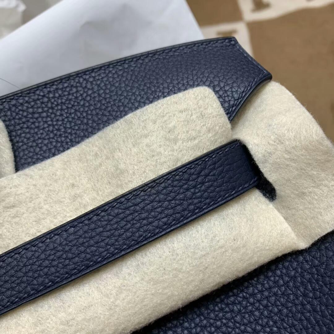 爱马仕铂金包 Birkin 35cm Togo小牛 73 Blue Saphir 宝石蓝 银扣 顶级工艺 手缝蜡线