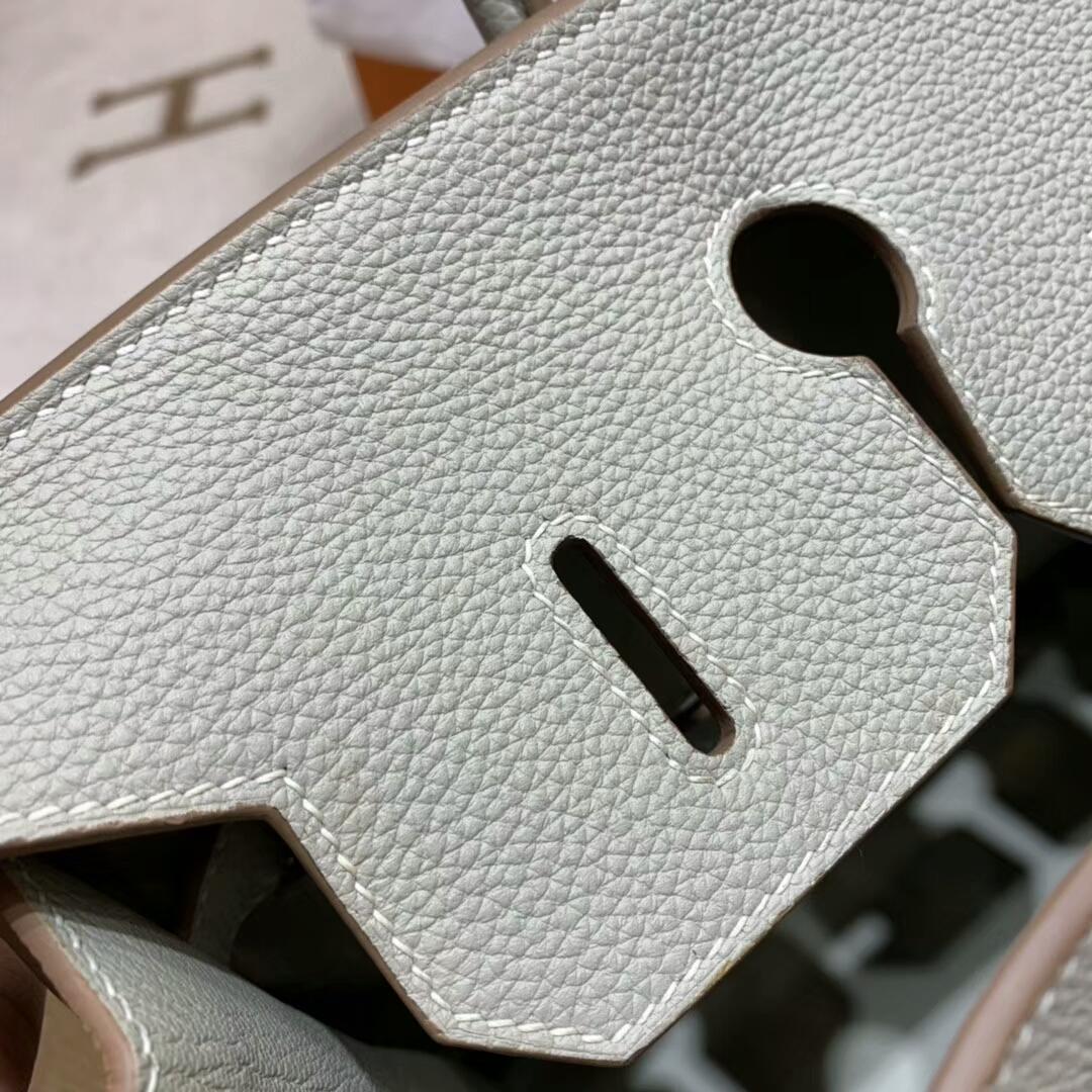 爱马仕铂金包 Birkin 35cm Togo小牛 80 Gris Perle 珍珠灰 金扣 顶级工艺 手缝蜡线