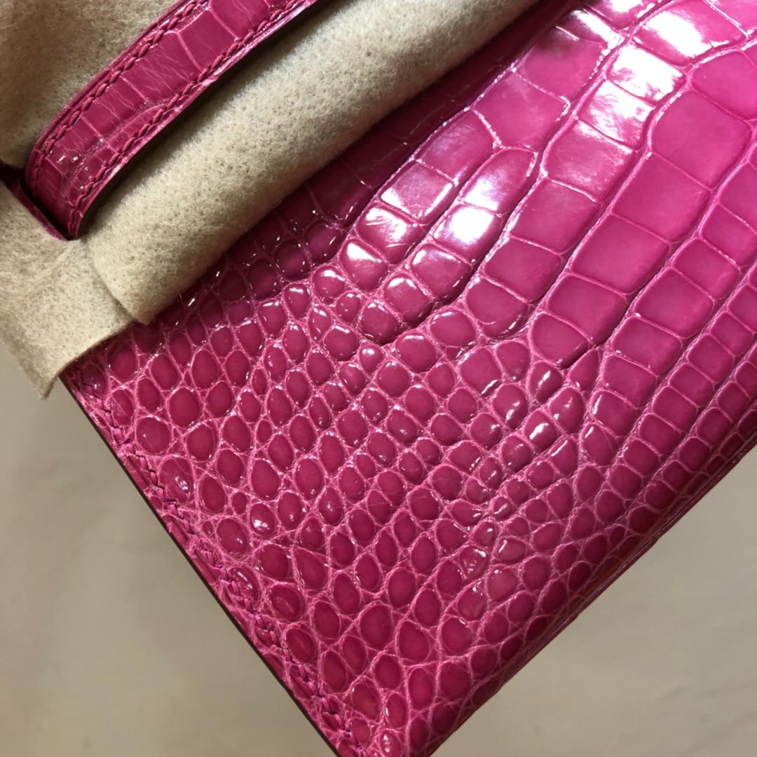 Hermes爱马仕 Kelly pochette 22cm Alligator Crocodile 密西西比河美洲鳄 5J Fuchsia 桃粉色 银扣