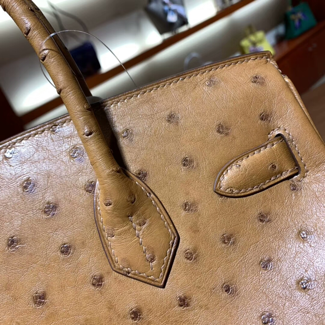 爱马仕铂金包 Birkin 30cm Ostrich 4G Brulee 焦糖色 金扣 蜜蜡线纯手缝