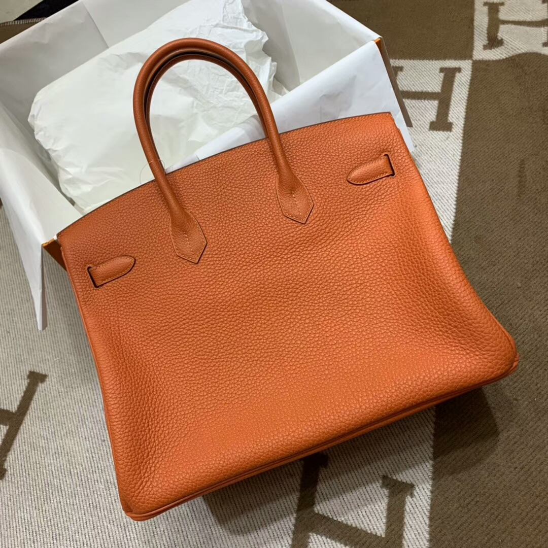 爱马仕铂金包 Birkin 35cm Togo小牛 93 Orange 橙色 金扣 顶级工艺 手缝蜡线