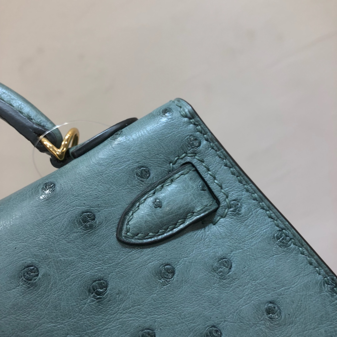 Hermes爱马仕 Mini Kelly二代 19cm Ostrich Leather 南非KK级鸵鸟 N7 Blue 风暴蓝 金扣