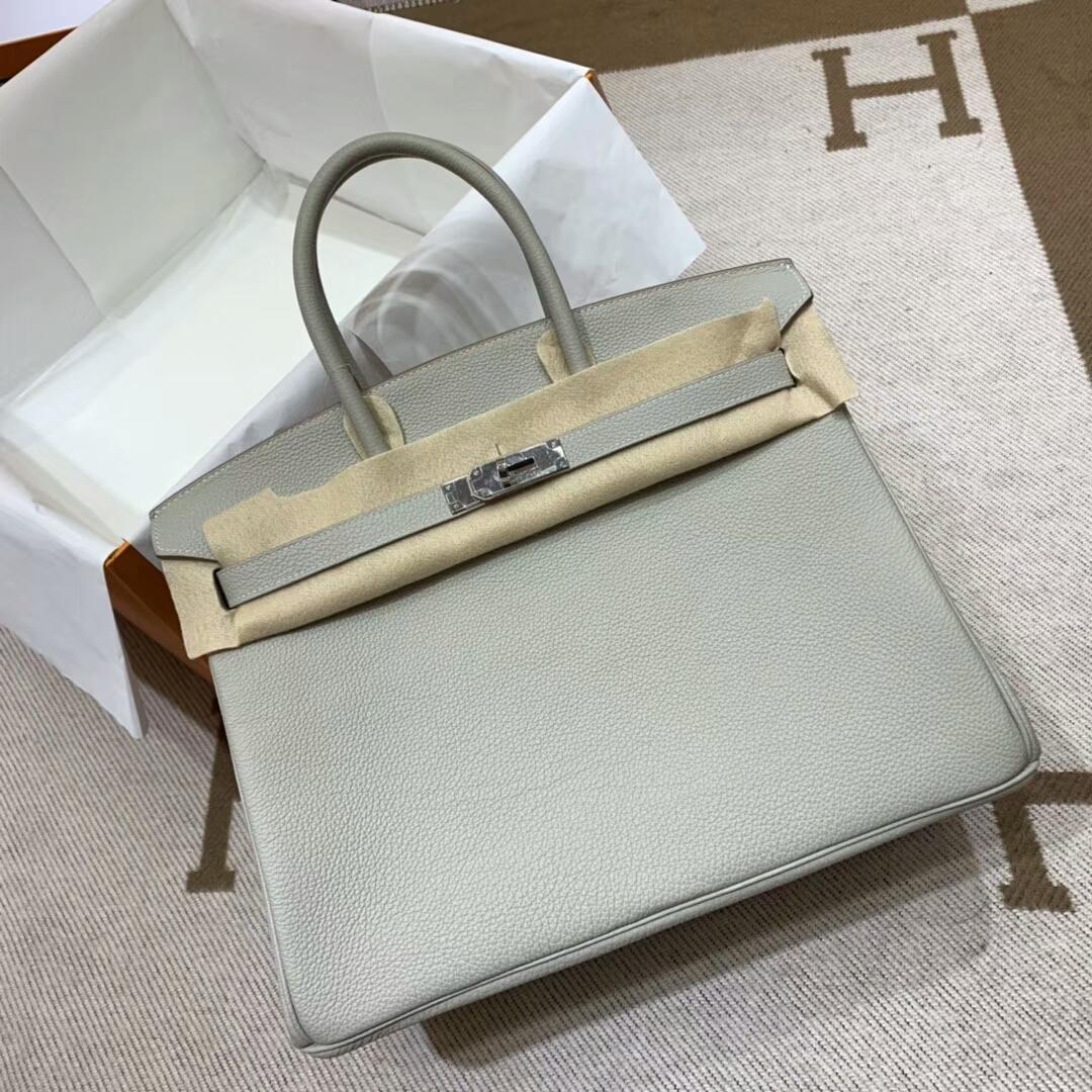 爱马仕铂金包 Birkin 35cm Togo小牛 80 Gris Perle 珍珠灰 银扣 顶级工艺 手缝蜡线