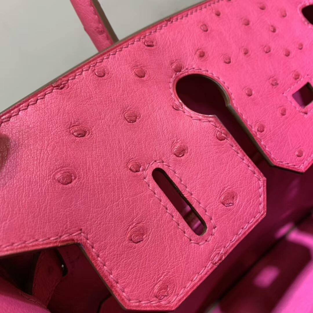 爱马仕包包批发 Birkin 30cm Ostrich Leather I6 Rose Extreme 极致粉 金扣 顶级工艺 全手缝蜡线