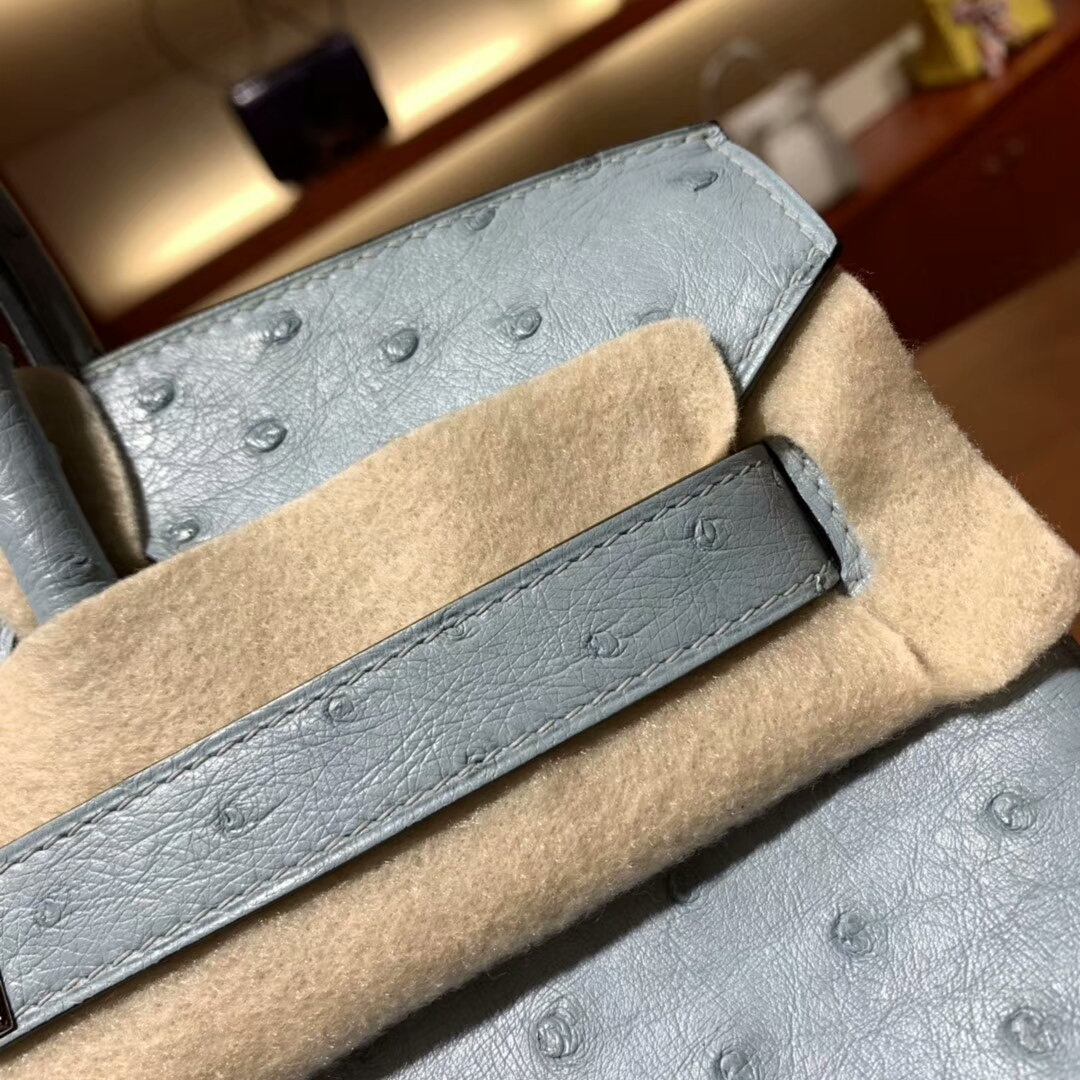 爱马仕铂金包 Birkin 30cm 8U Glacierw 冰川蓝 银扣 蜜蜡线纯手缝