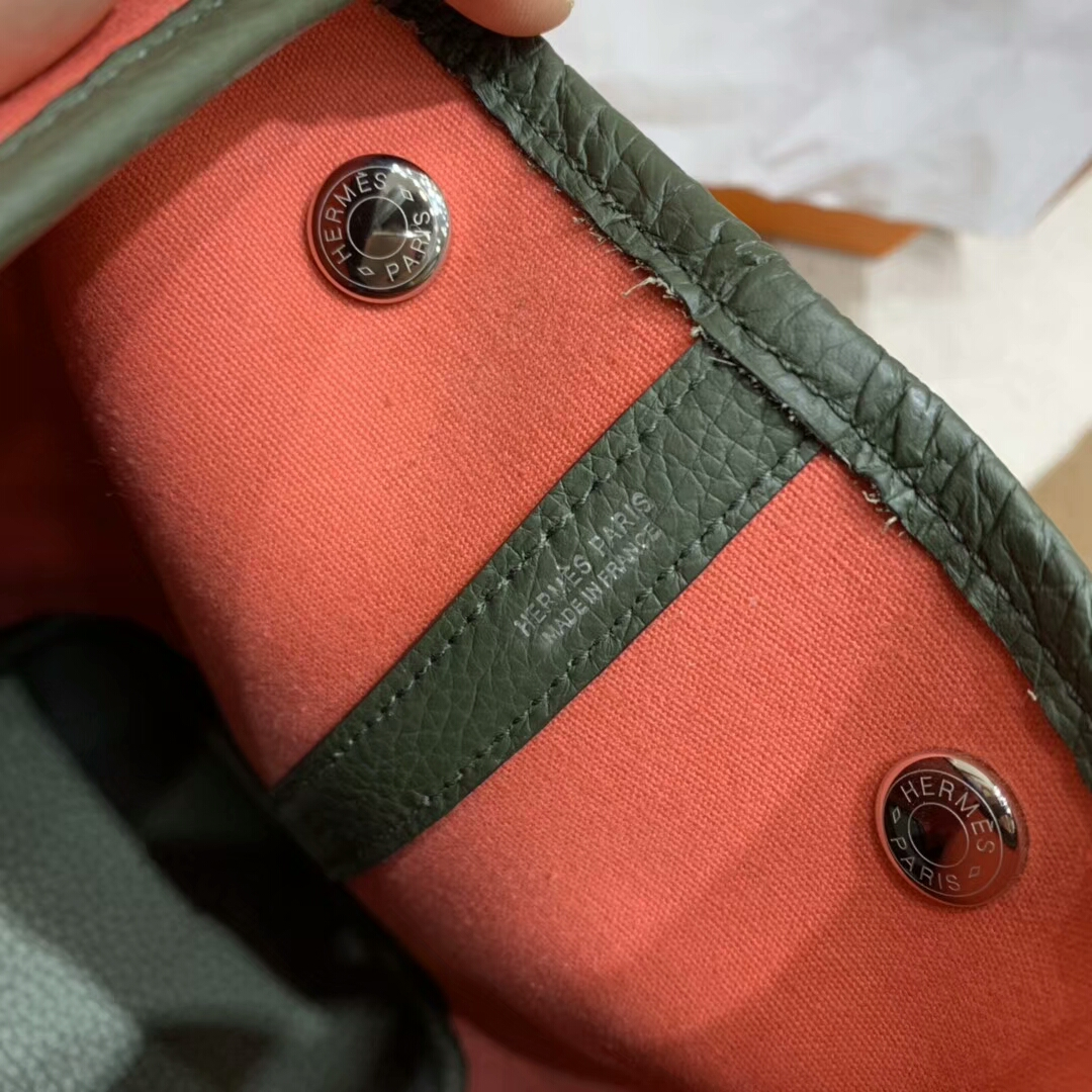爱马仕花园包 Garden Party 31cm Negonda拼帆布 T5 Rose Jaipur 普尔斋粉 西瓜红 银扣 顶级工艺 手缝蜡线